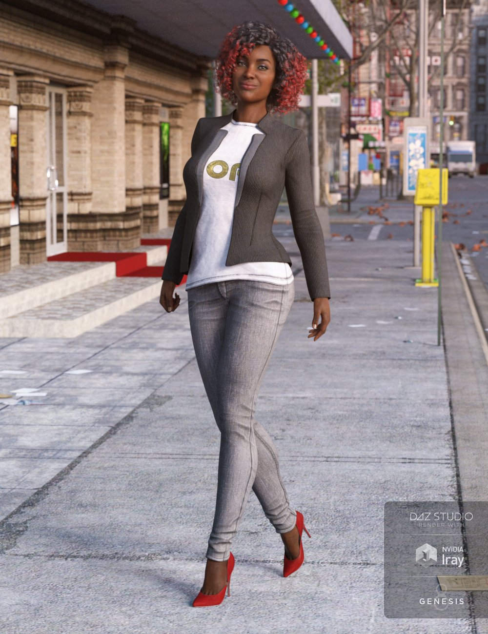 Blazer and Skinny Jeans Outfit for Genesis 8 Female(s) by: LuthbellinaNikisatez, 3D Models by Daz 3D