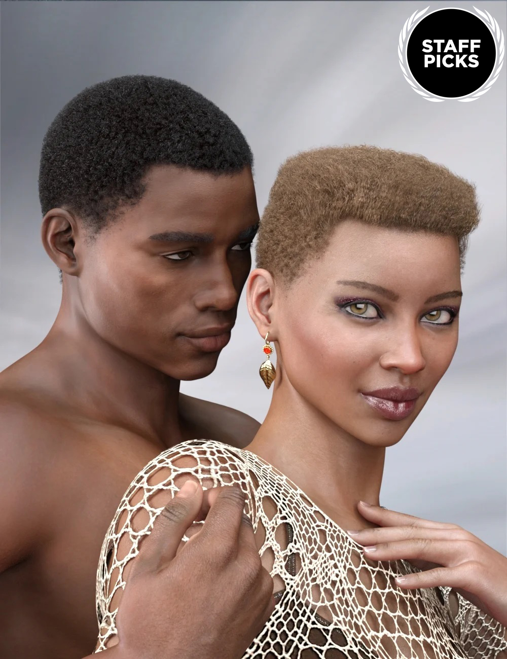 Short Afro Hair for Genesis 3 and 8 by: RedzStudio, 3D Models by Daz 3D