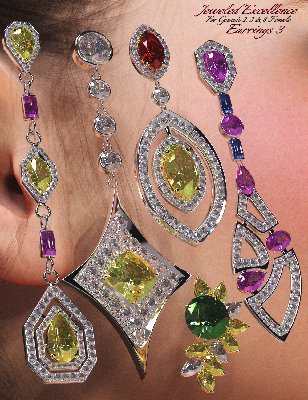 Jeweled Excellence Earrings 3 for Genesis 2, 3 and 8 Female(s) by: Mattymanx, 3D Models by Daz 3D