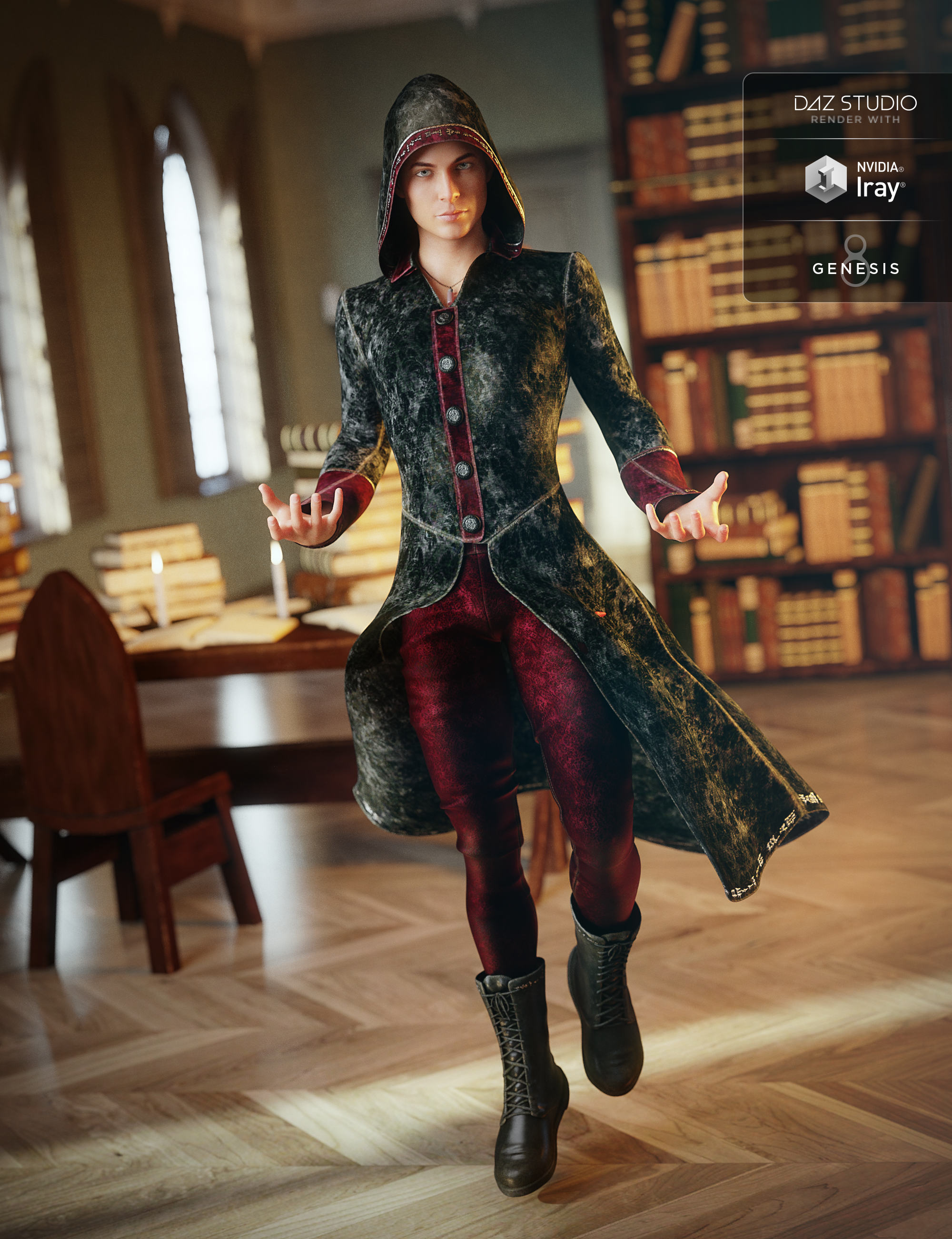 Wizard Apprentice Outfit for Genesis 8 Male(s) by: ArienNikisatez, 3D Models by Daz 3D