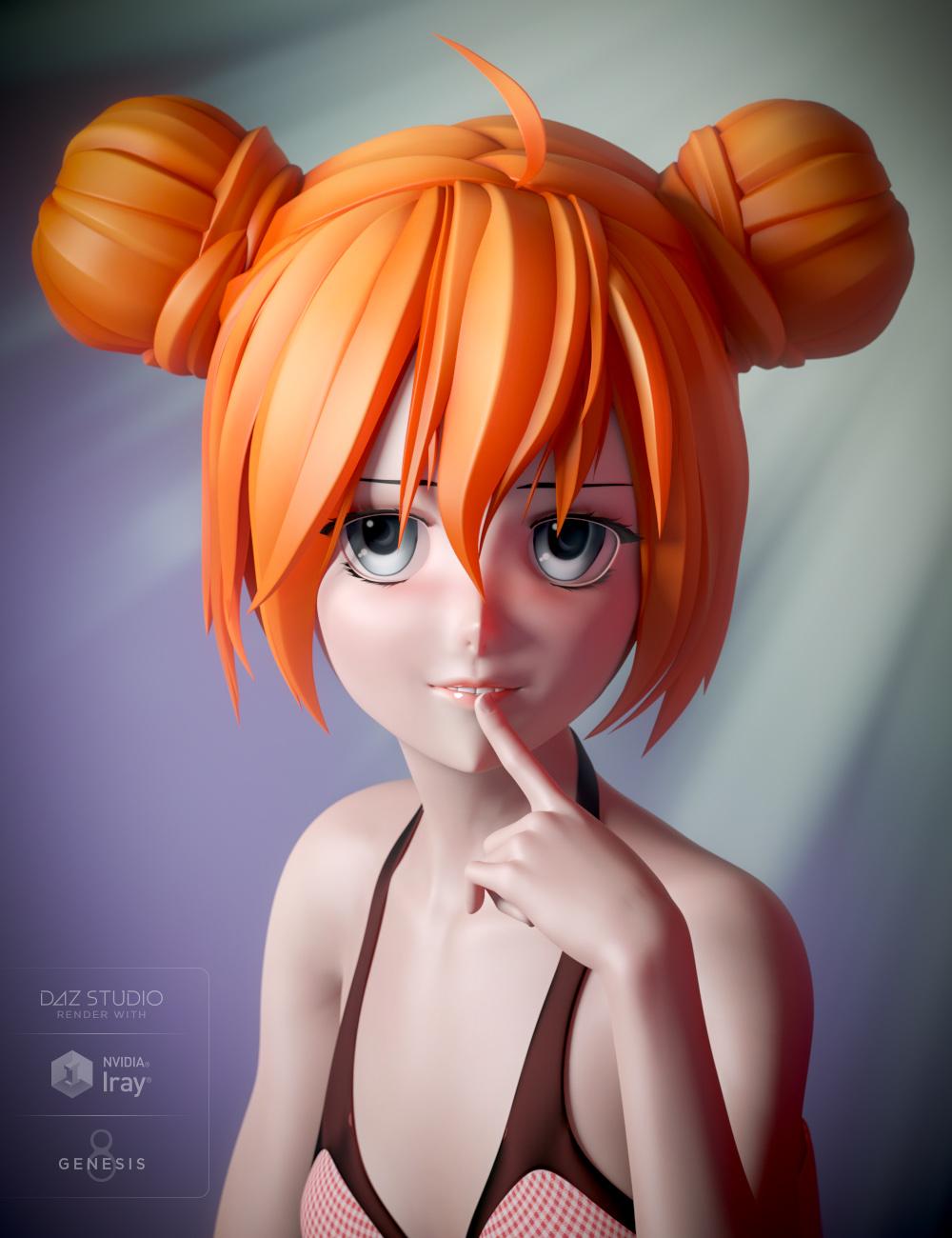Anime Bun Hair for Genesis 8 Female(s) by: RareStone, 3D Models by Daz 3D