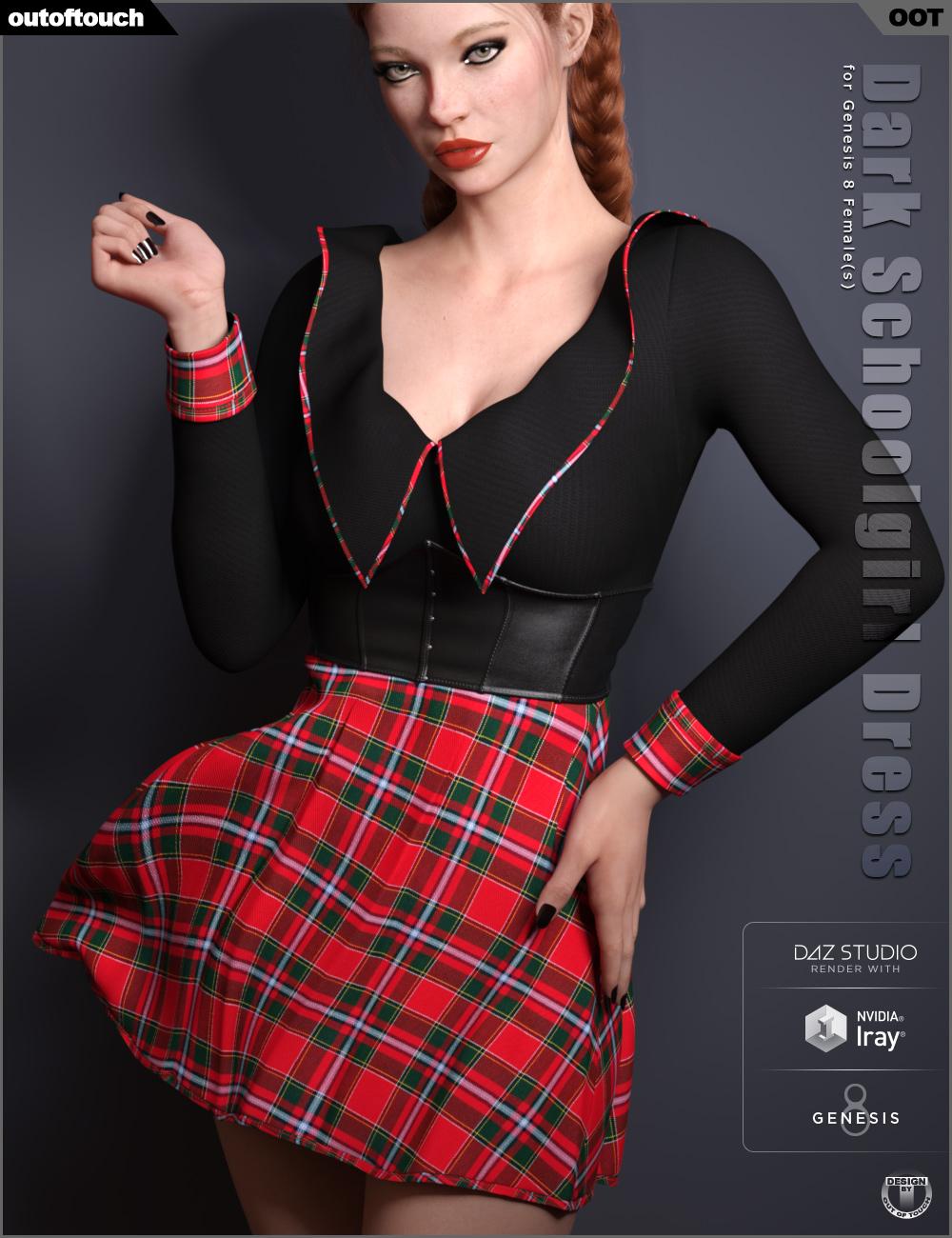 Dark Schoolgirl Dress for Genesis 8 Female(s) by: outoftouch, 3D Models by Daz 3D