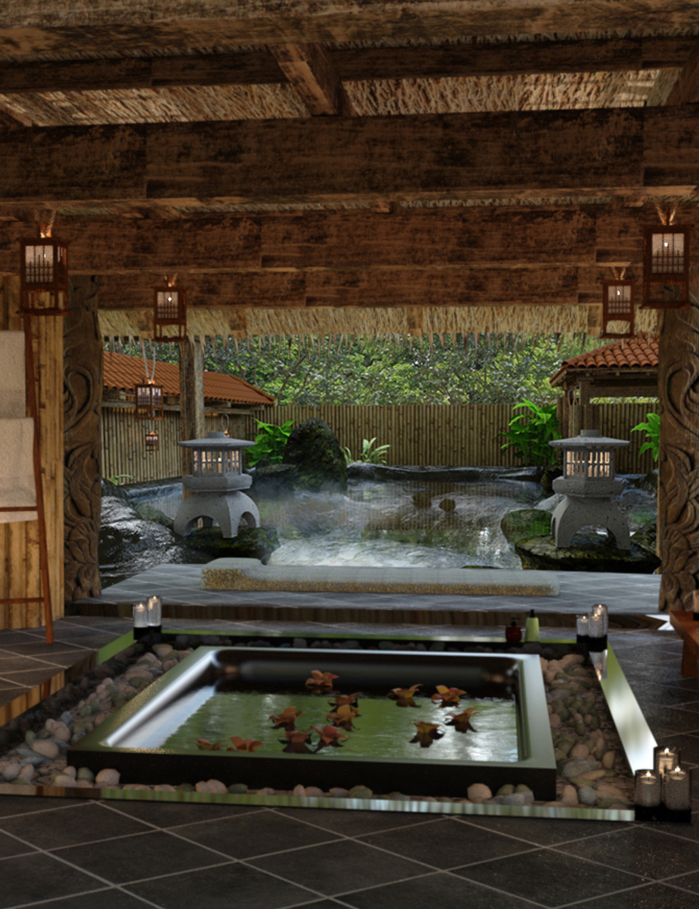 Japanese Spa and Hot Spring by: Digitallab3D, 3D Models by Daz 3D