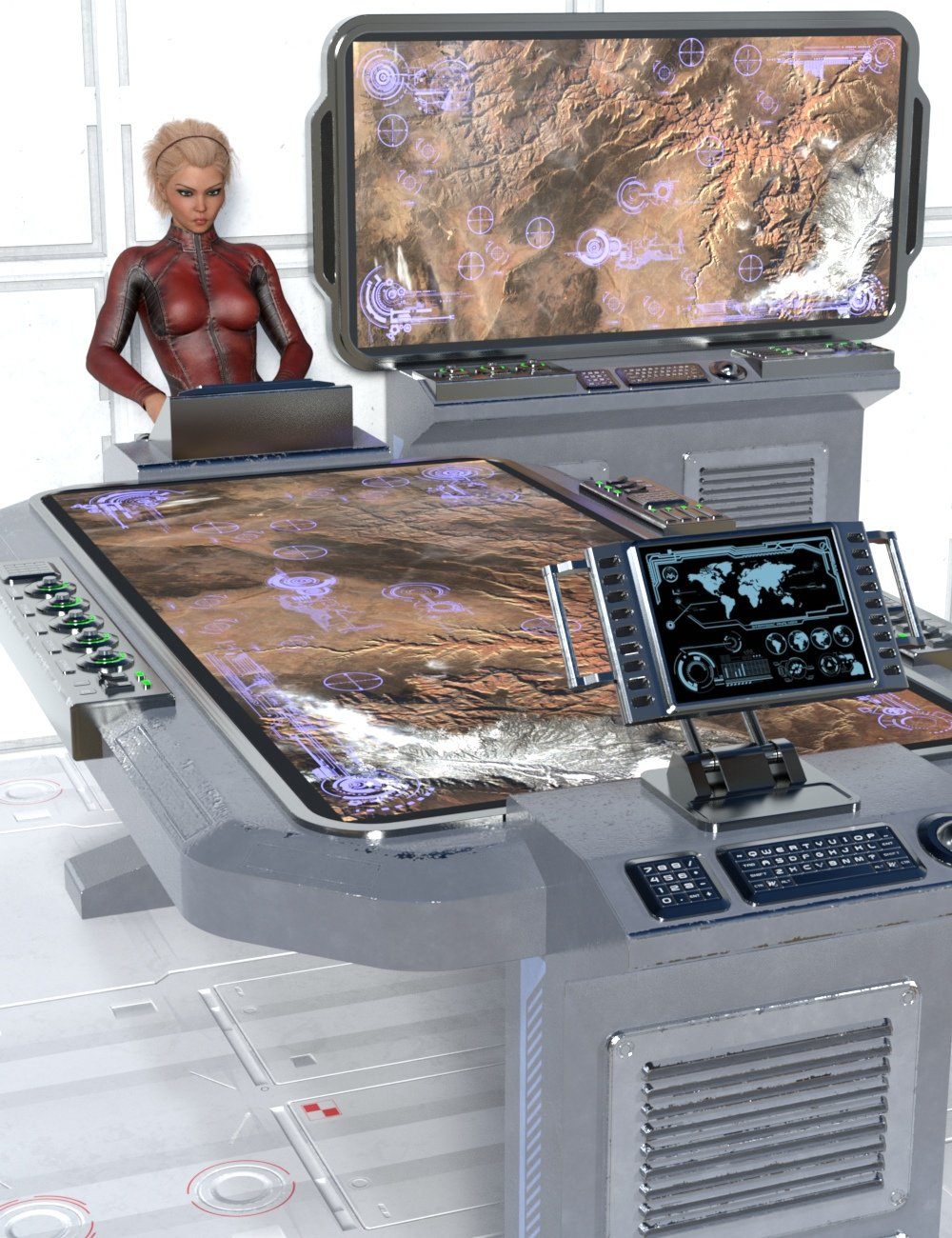 Sci-fi Tactical Table And Monitor by: Nightshift3D, 3D Models by Daz 3D