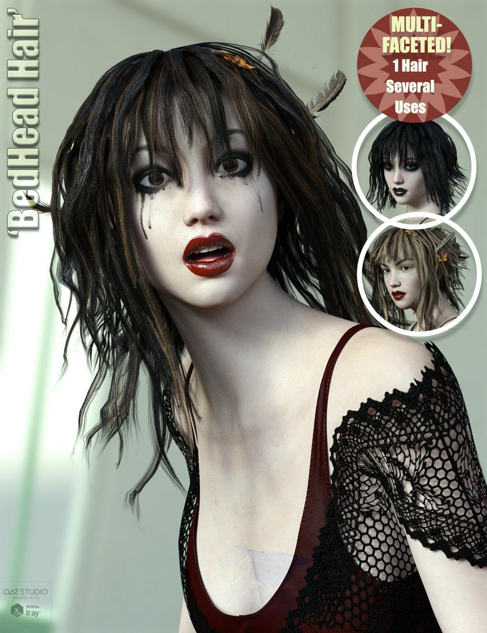 Bedhead Hair for Genesis 3 & 8 Female(s) by: ForbiddenWhispersFeralFey, 3D Models by Daz 3D