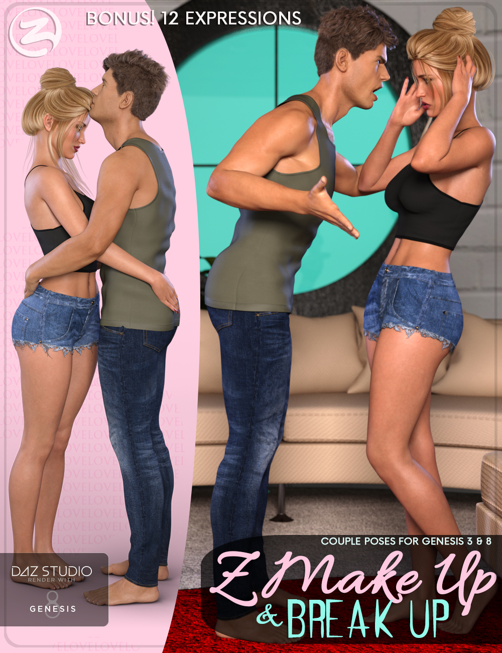 Z Make Up and Break Up - Couple Poses and Expressions for Genesis 3 & 8 by: Zeddicuss, 3D Models by Daz 3D