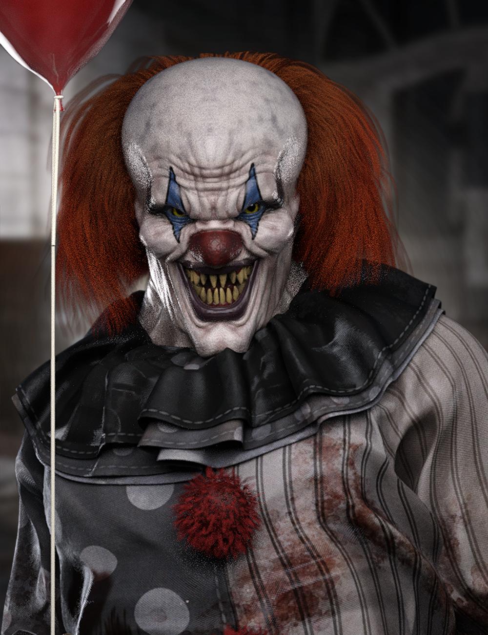 Evil Clown HD for Genesis 8 Male by: , 3D Models by Daz 3D