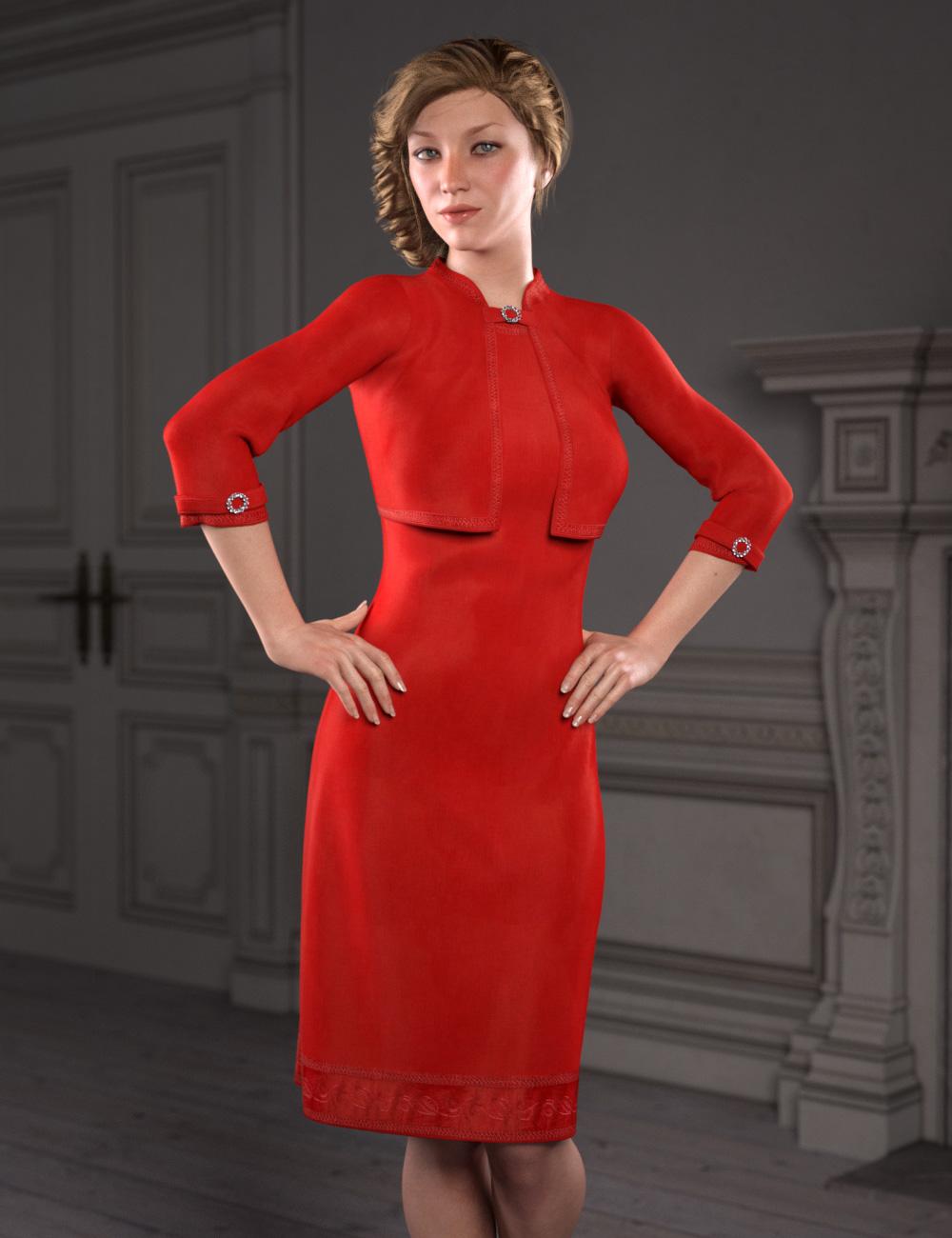 dForce Little Red Dress for Genesis 8 Female(s) by: esha, 3D Models by Daz 3D