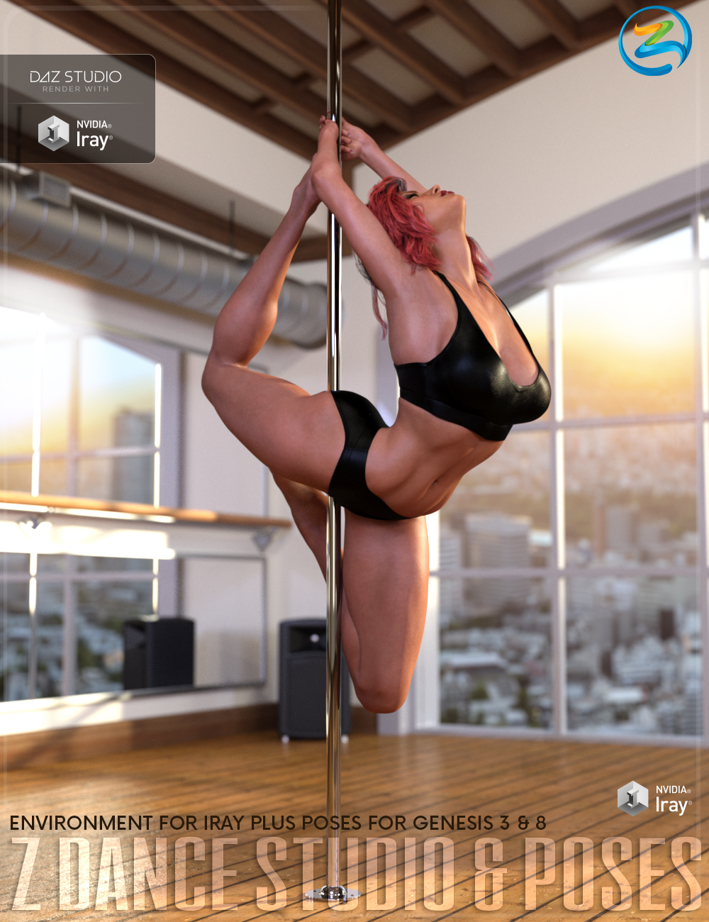 Z Pole Dance Studio and Poses for Genesis 3 and 8 Female by: Zeddicuss, 3D Models by Daz 3D
