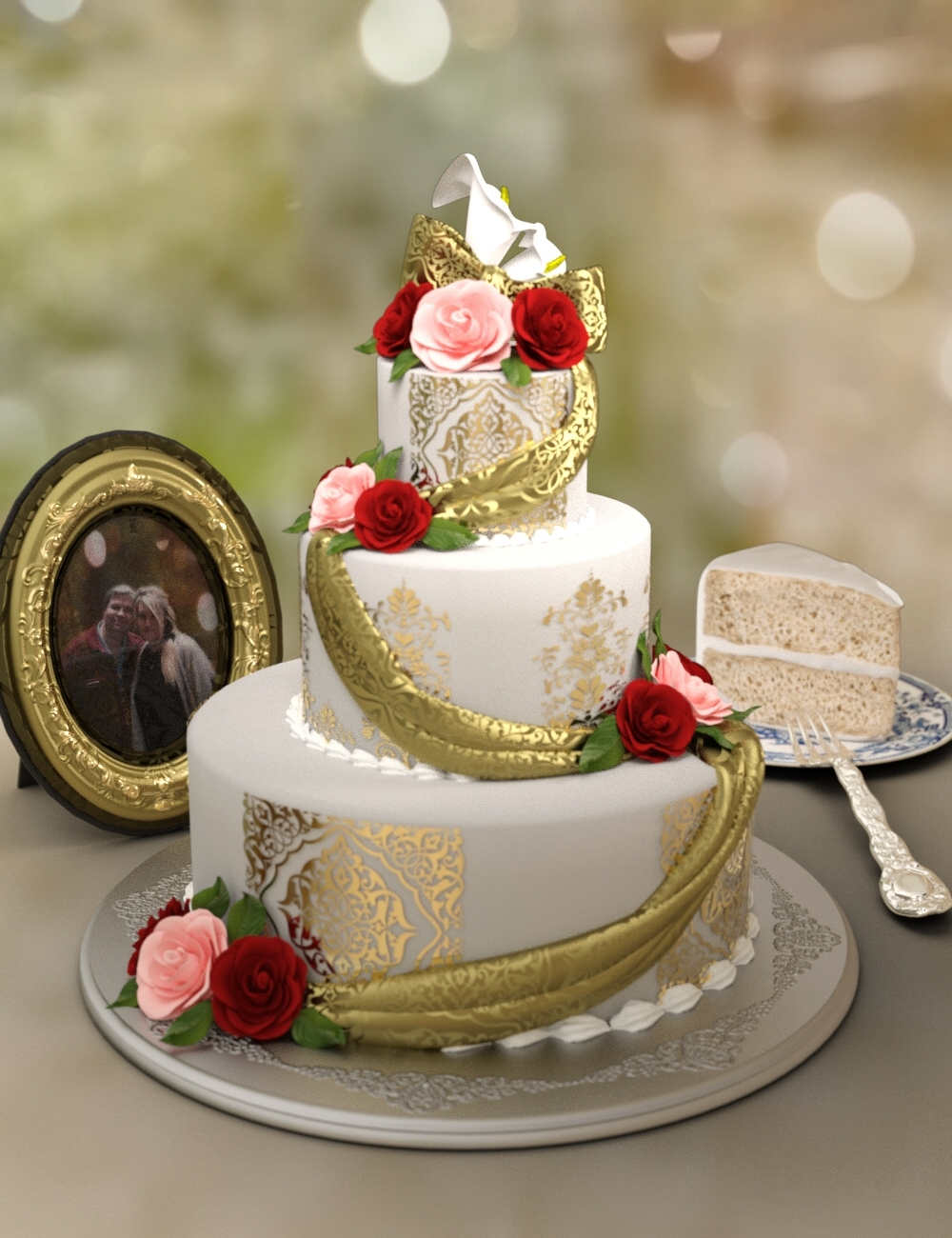 Classy Wedding Cake set by: Neftis3D, 3D Models by Daz 3D