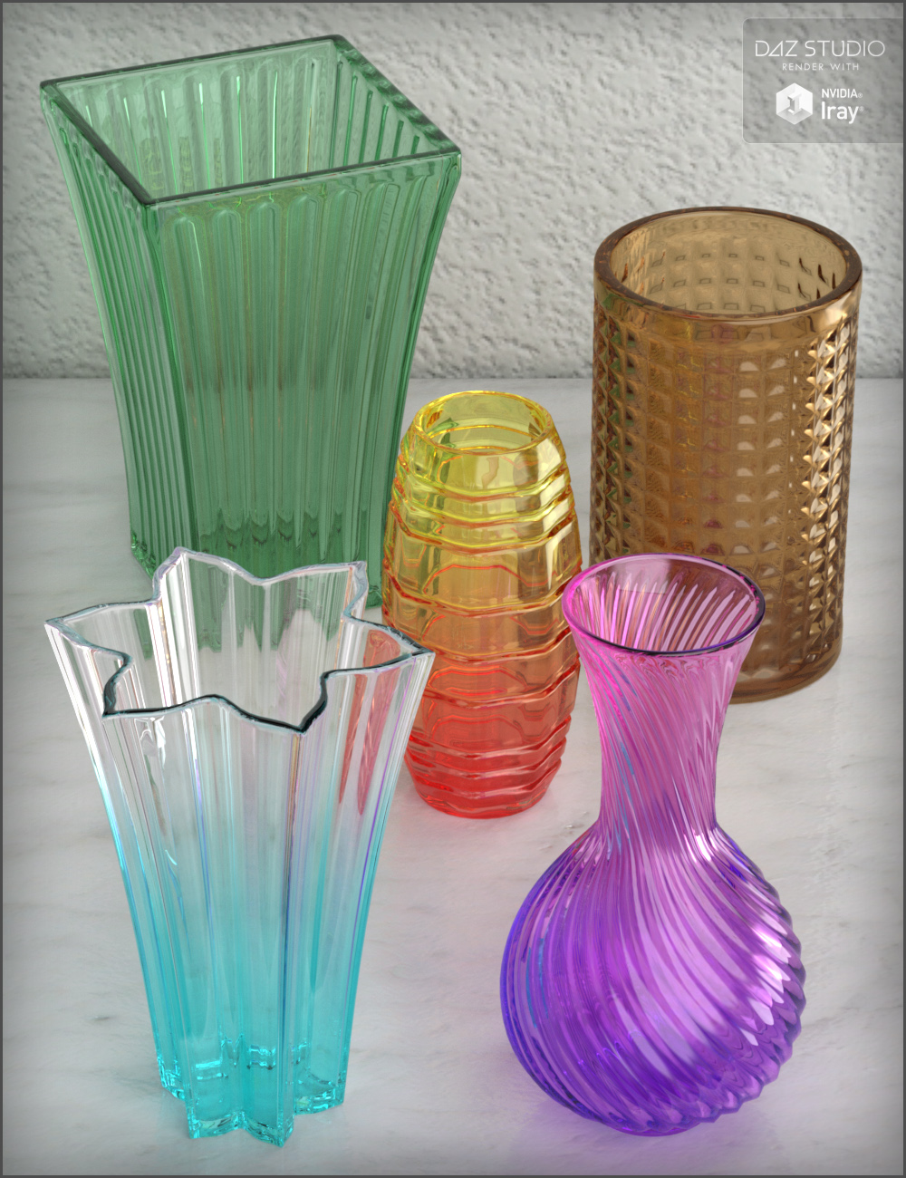 Crystal Vases by: Fisty & Darc, 3D Models by Daz 3D