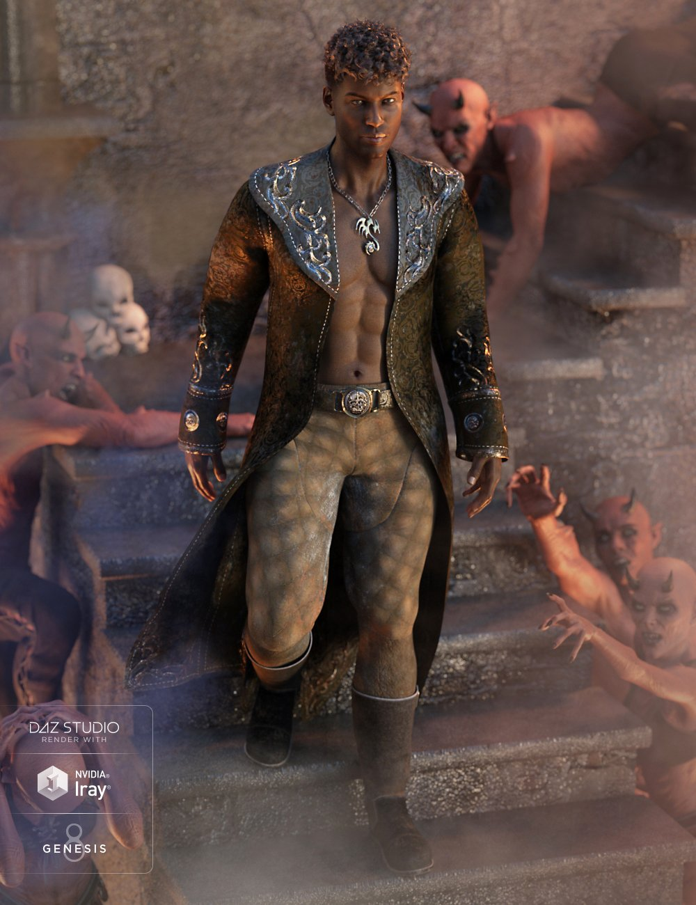 Demon Master Outfit for Genesis 8 Male(s) by: Anna BenjaminNikisatez, 3D Models by Daz 3D