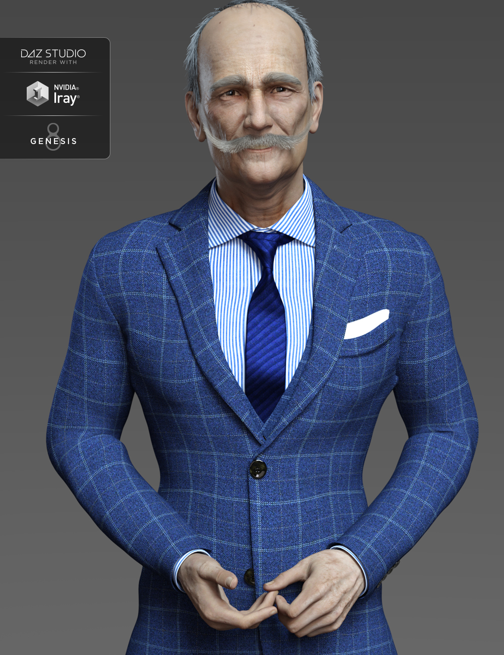 Aldo HD and Mustache for Genesis 8 Male by: Fred Winkler ArtSR3Laticis Imagery, 3D Models by Daz 3D