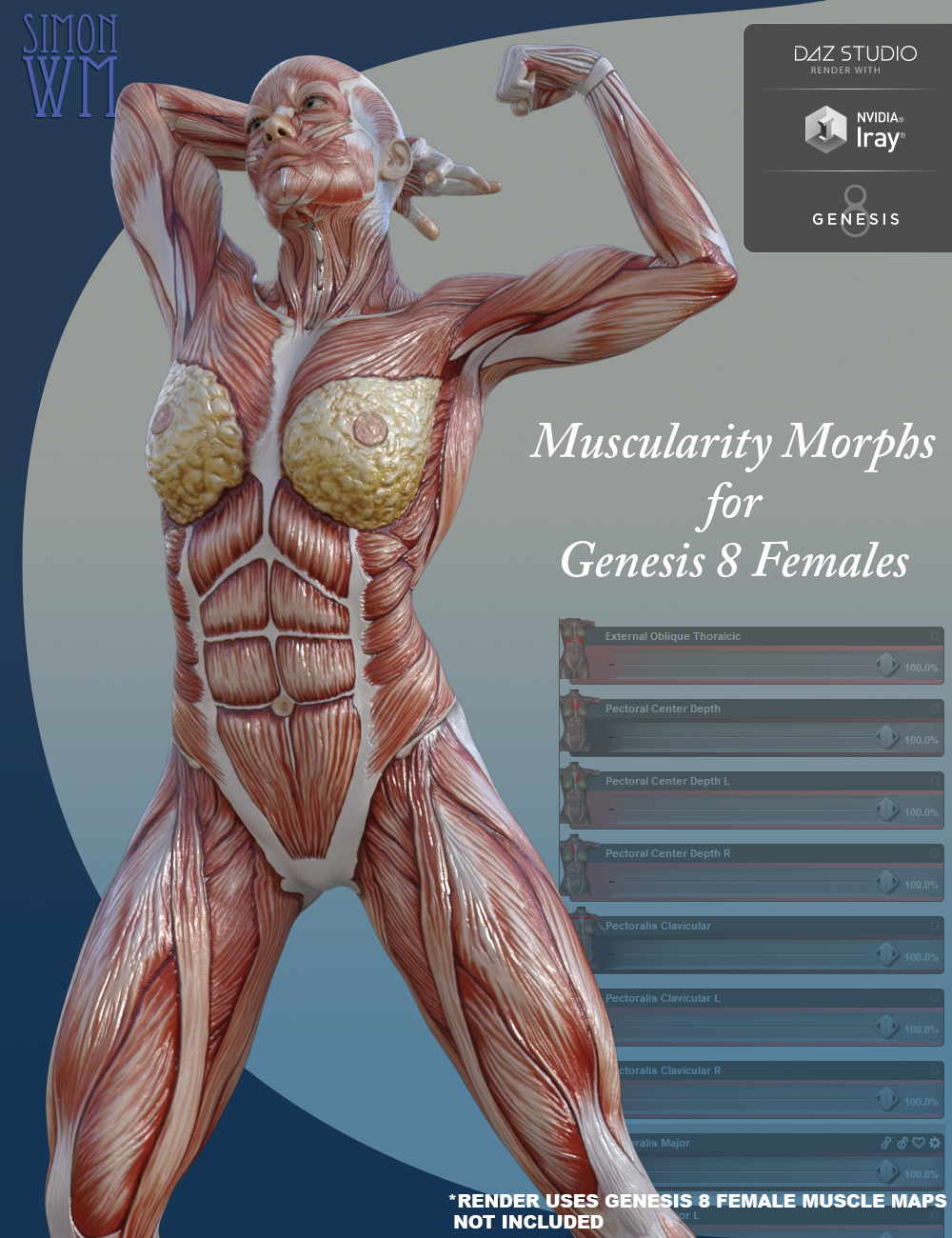 Muscularity Morphs for Genesis 8 Female(s) by: SimonWM, 3D Models by Daz 3D