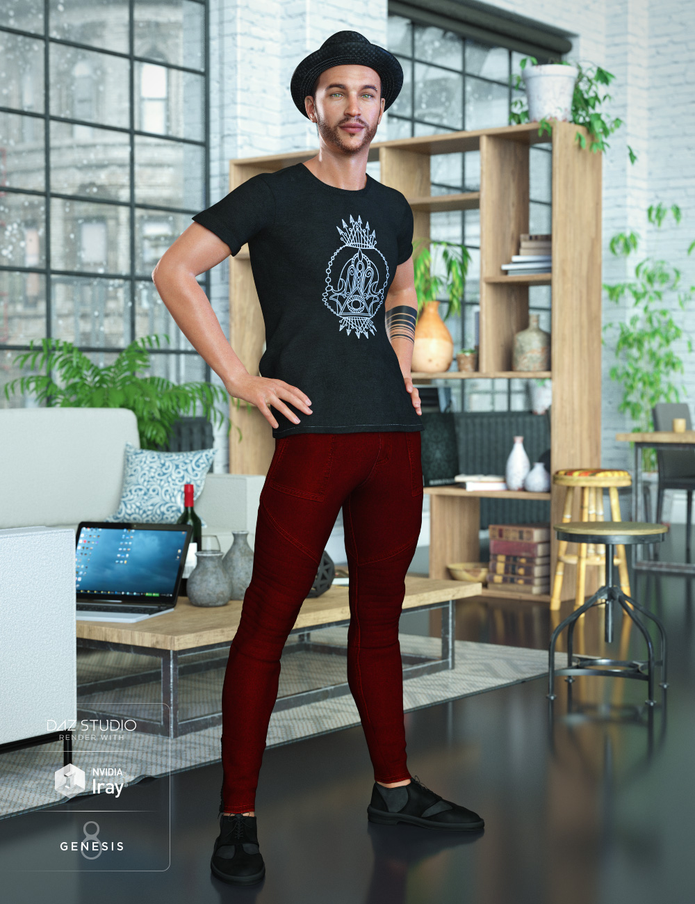 Hipster Outfit for Genesis 8 Male(s) by: DirtyFairyNikisatez, 3D Models by Daz 3D