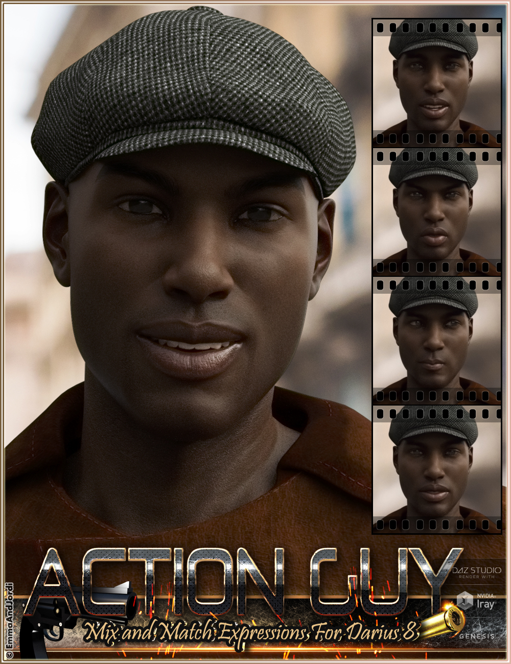 Action Guy Mix and Match Expressions for Darius 8 And Genesis 8 Male(s) by: EmmaAndJordi, 3D Models by Daz 3D