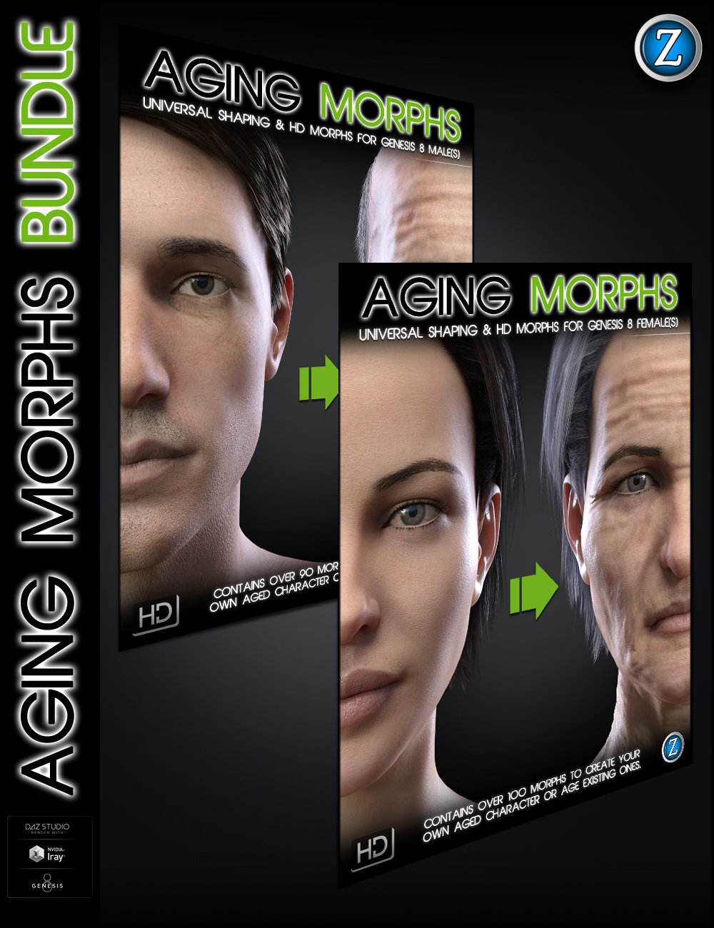 Aging Morphs Bundle for Genesis 8 Female(s) and Male(s) by: Zev0, 3D Models by Daz 3D