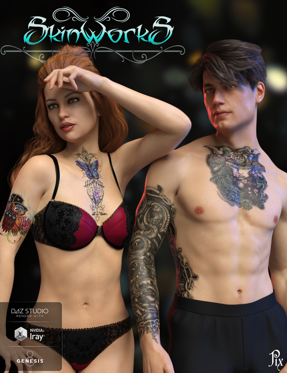 SkinWorks L.I.E. Tattoos for Genesis 3 and 8 by: Pixeluna, 3D Models by Daz 3D