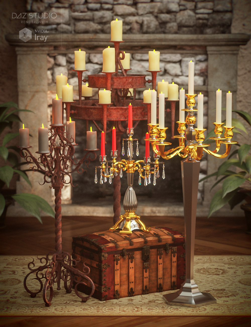 Candelabras with Morphing Candle by: Age of Armour, 3D Models by Daz 3D