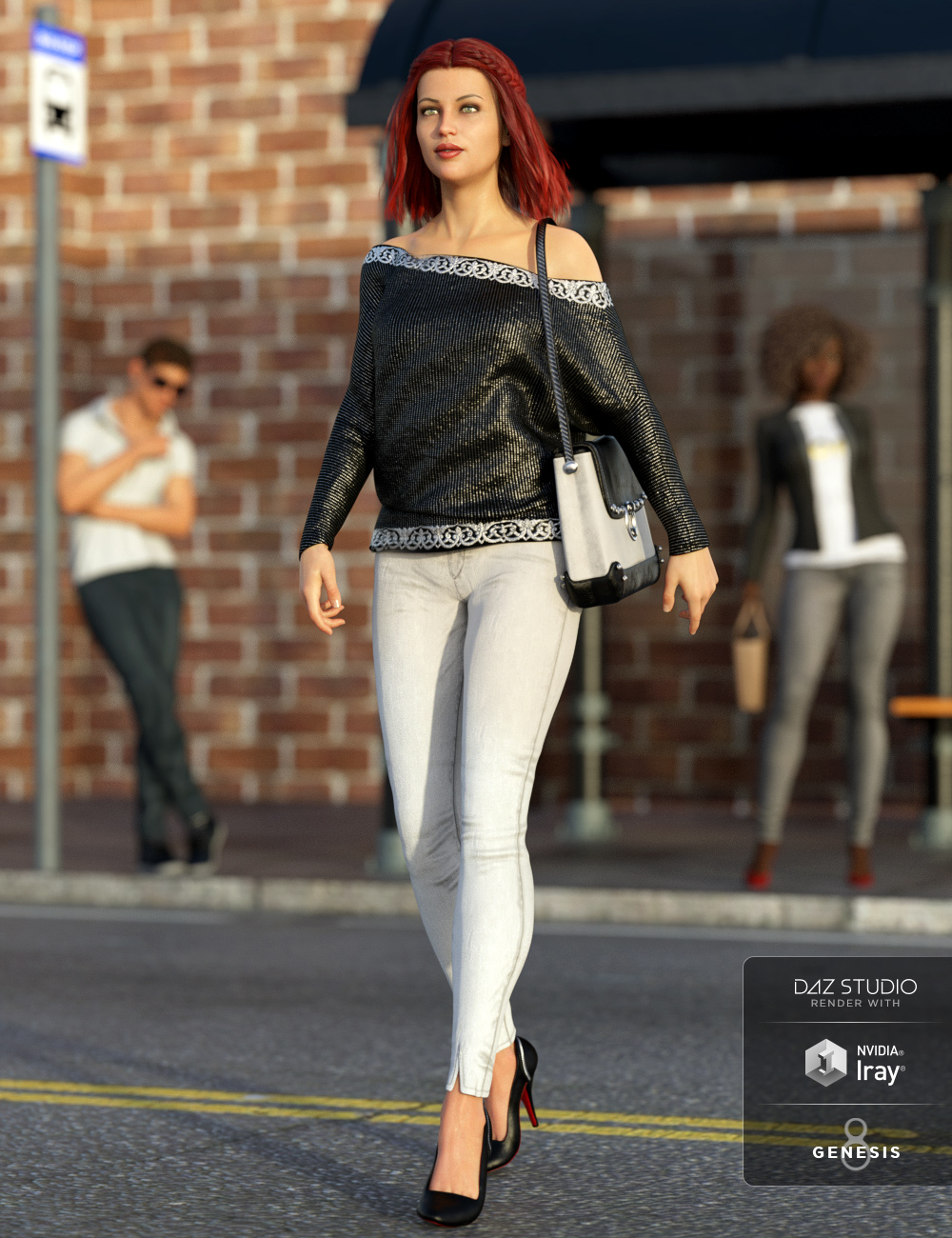 dForce City Limits Outfit for Genesis 8 Female(s) by: Barbara BrundonLuthbellina, 3D Models by Daz 3D