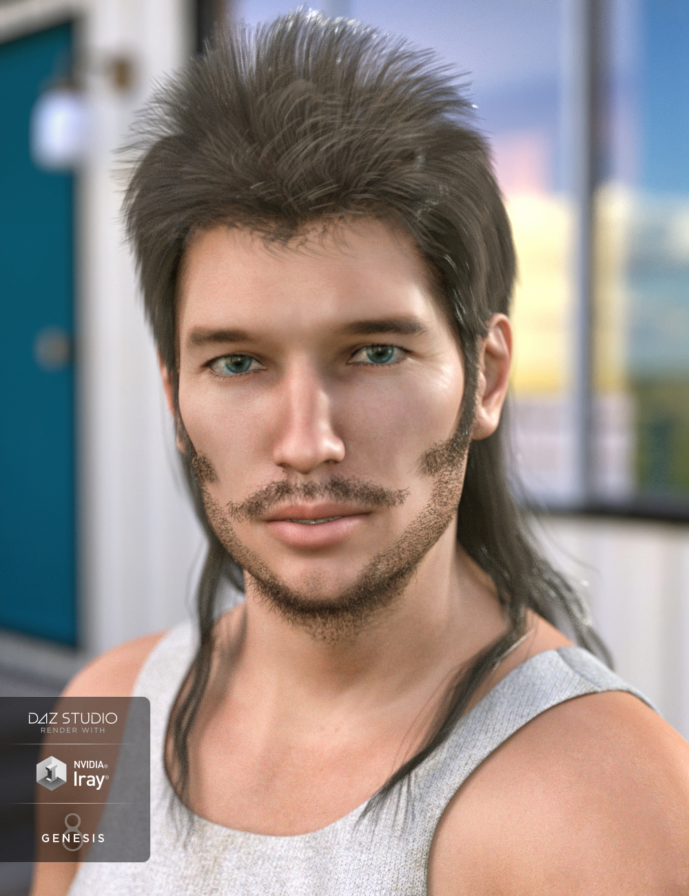 Bubba Mullet Hair for Genesis 3 and 8 Male(s) by: 3DCelebrity, 3D Models by Daz 3D