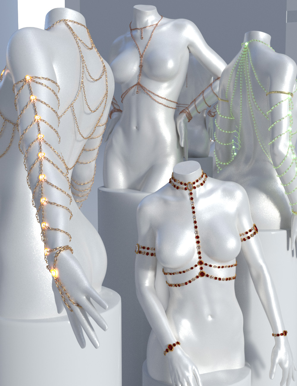 Body Chains For Genesis 3 and Genesis 8 Female(s) by: Sshodan, 3D Models by Daz 3D