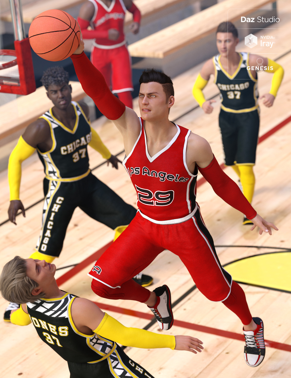 Basketball Court Outfit for Genesis 8 Male(s) by: Barbara BrundonDirtyFairy, 3D Models by Daz 3D