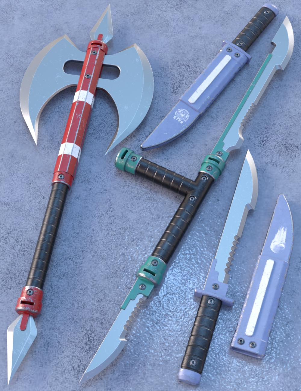 Blade Weapons 3 for Genesis 3 and 8 by: Nightshift3D, 3D Models by Daz 3D