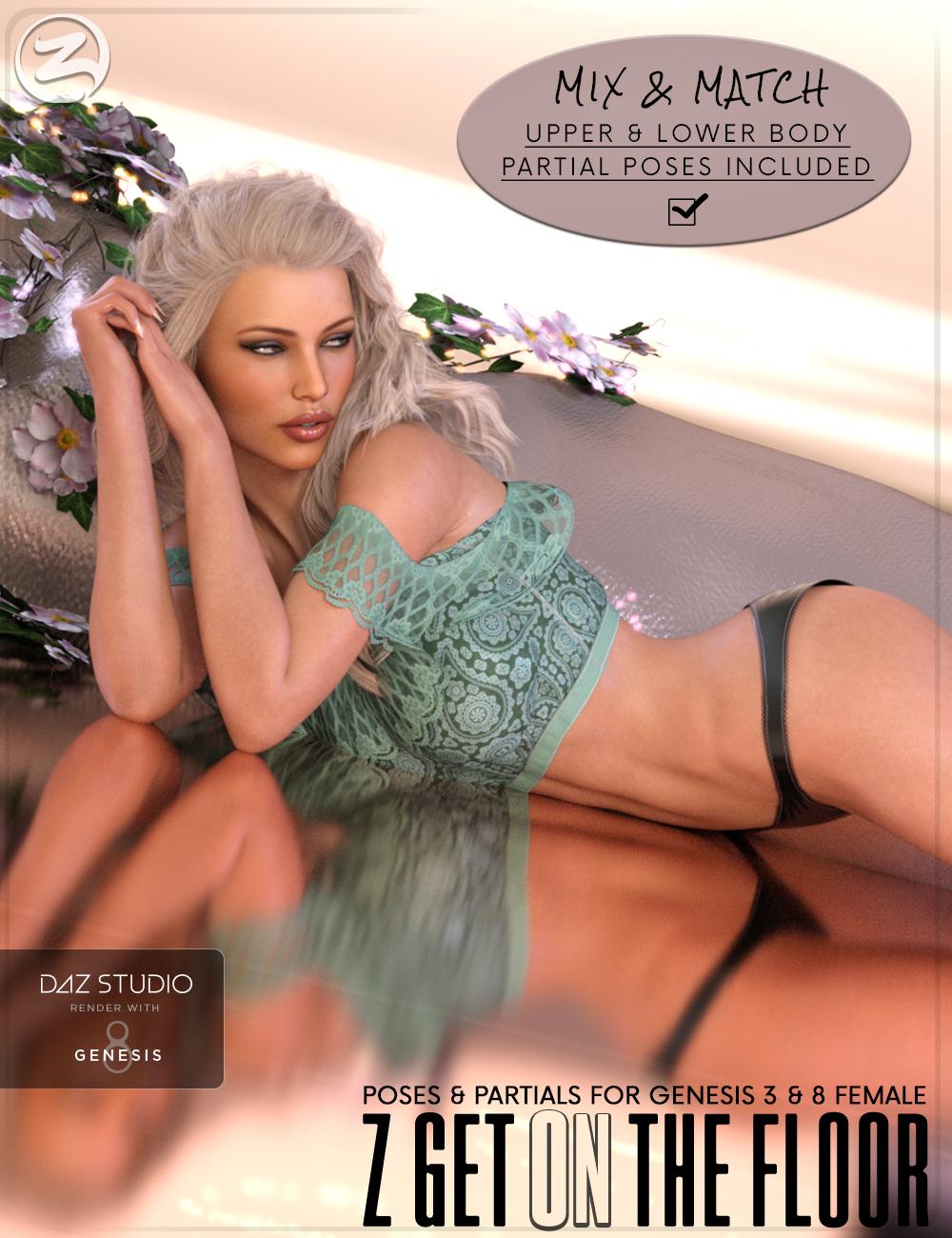 Z Get On The Floor - Poses for Genesis 3 & 8 Female by: Zeddicuss, 3D Models by Daz 3D