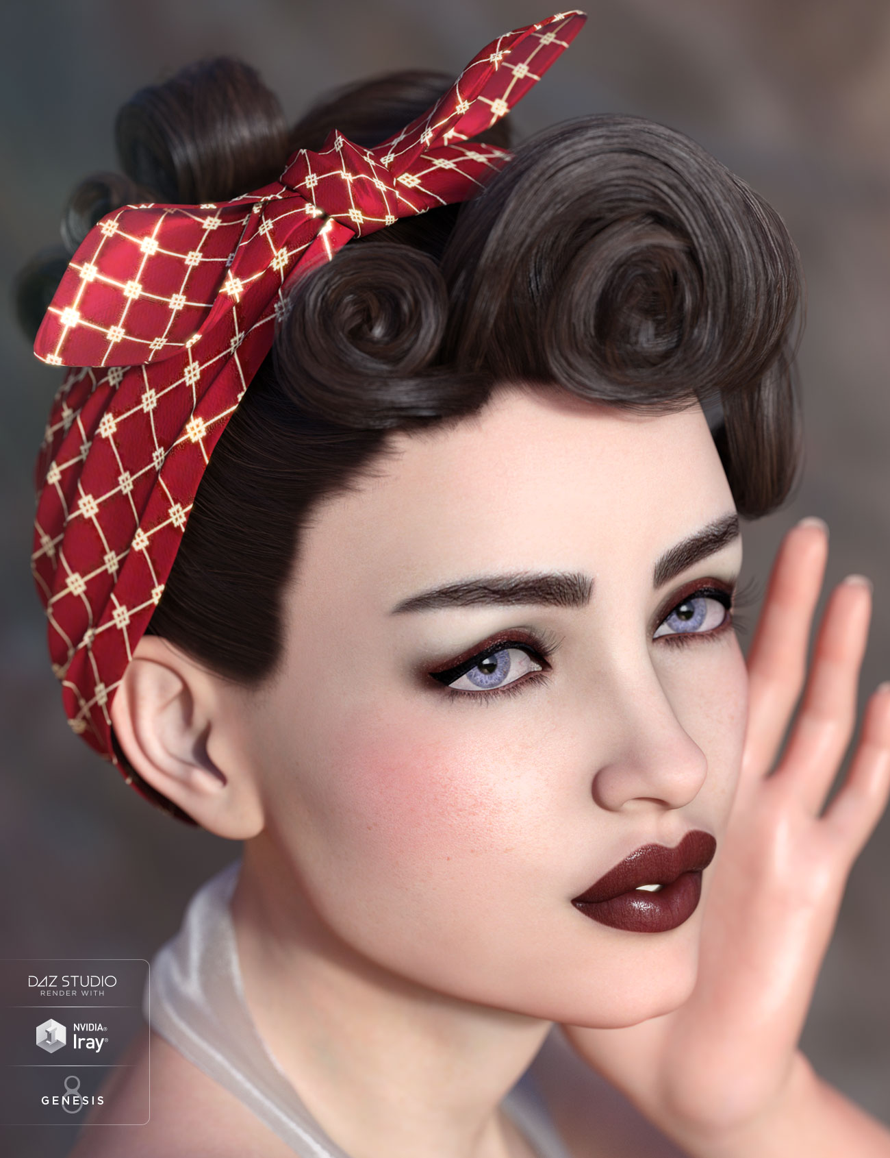 Yvette Hair for Genesis 3 & 8 Female(s) by: AprilYSH, 3D Models by Daz 3D