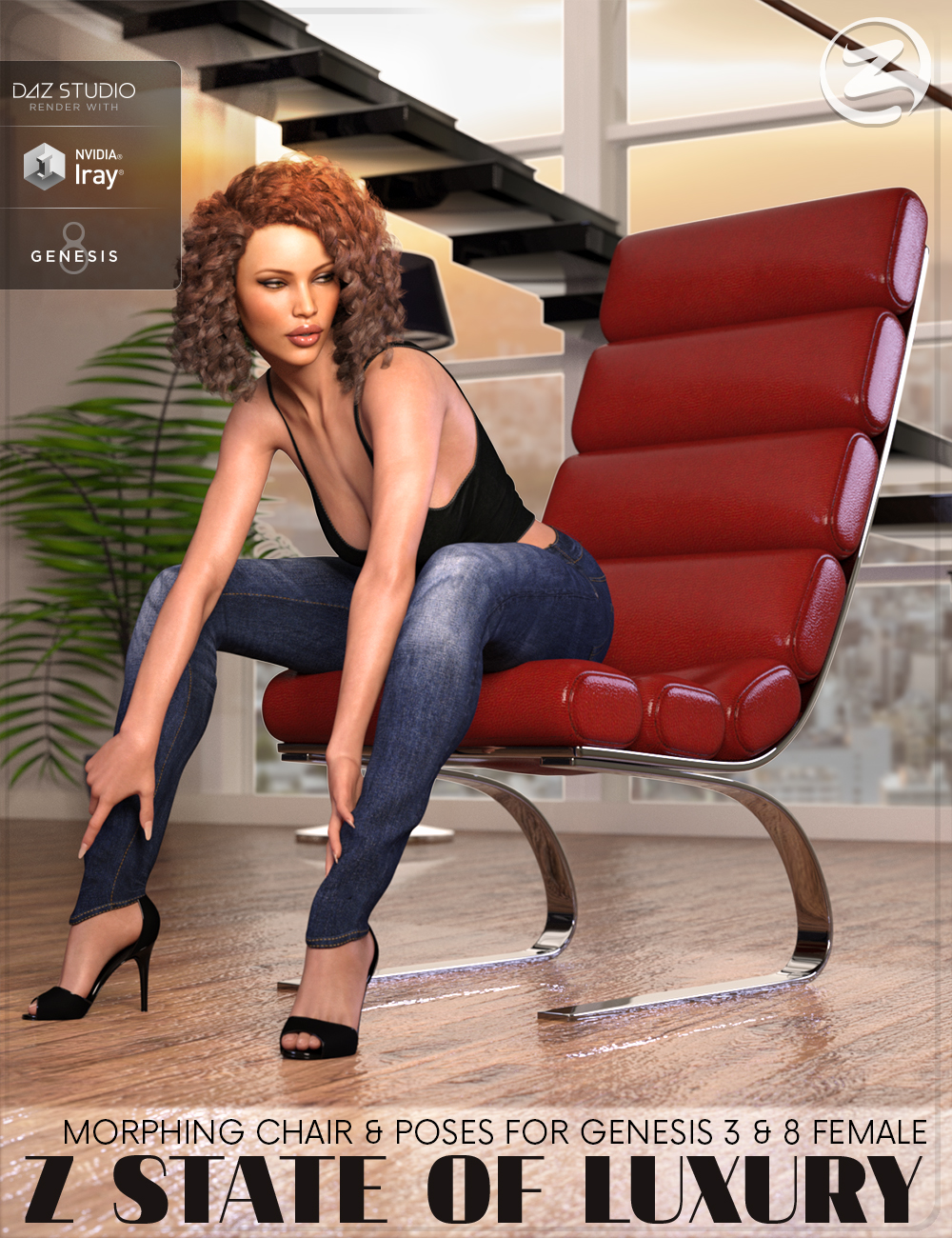 Z State Of Luxury - Morphing Chair and Poses for Genesis 3 & 8 Female by: Zeddicuss, 3D Models by Daz 3D