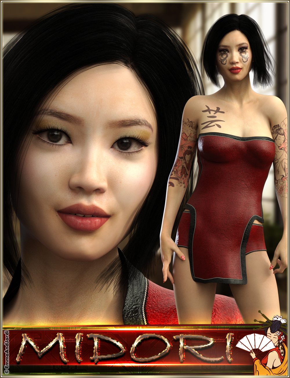 EJ Midori for Genesis 8 Female by: EmmaAndJordi, 3D Models by Daz 3D