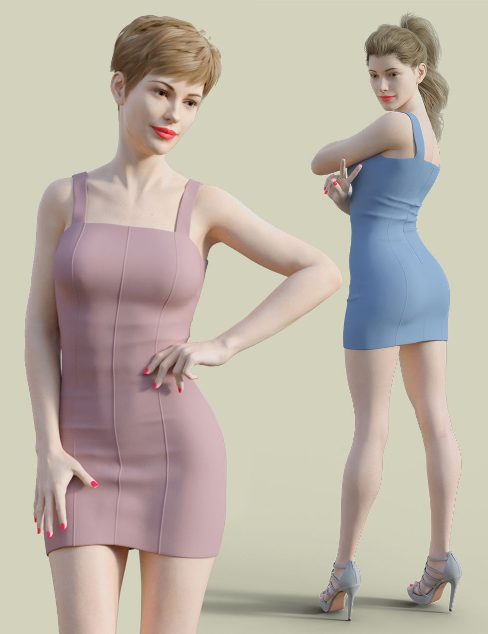 H&C Club Dress D for Genesis 3 & 8 Female by: IH Kang, 3D Models by Daz 3D