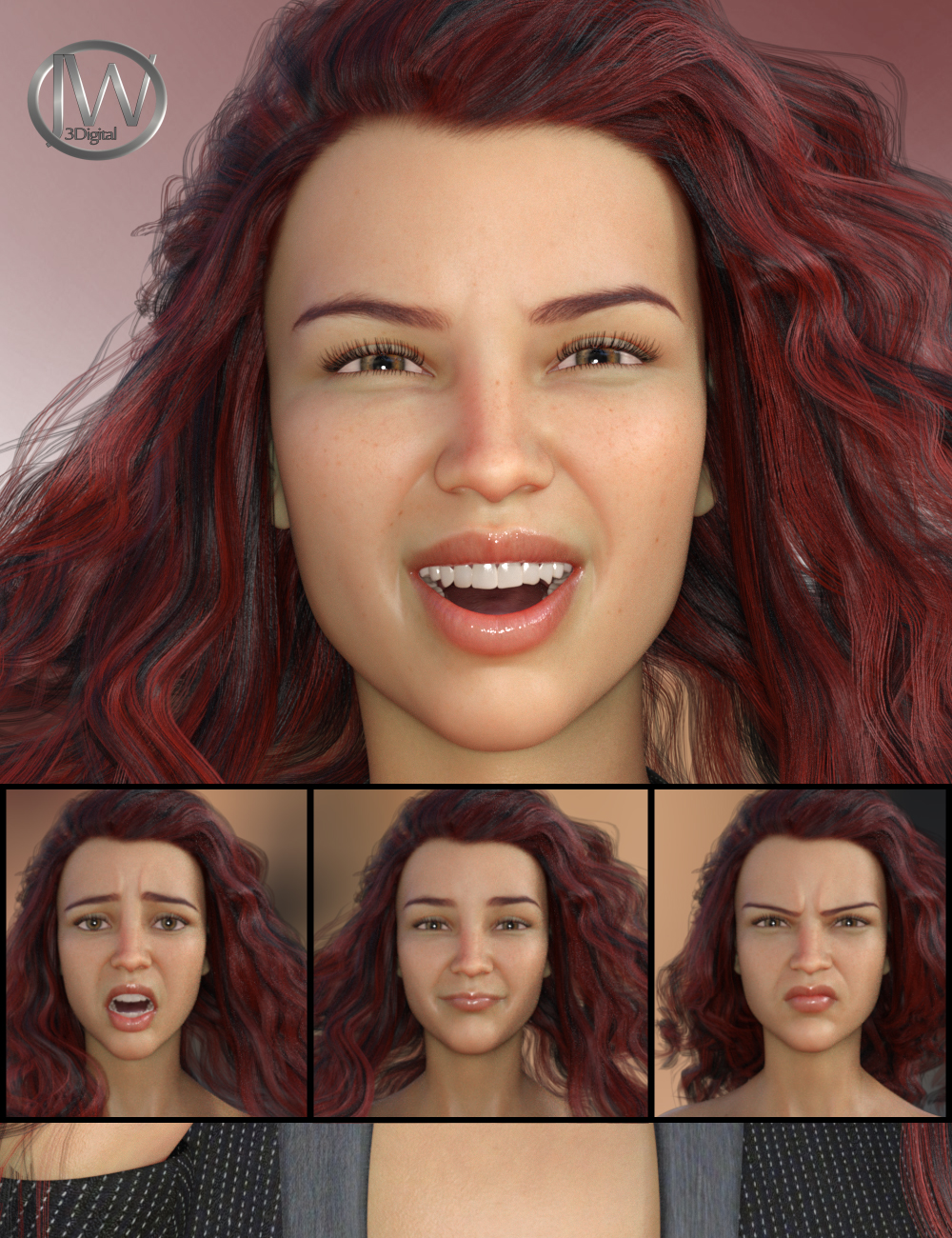 Her Emotions - Expressions for Genesis 8 Female(s) and Charlotte 8 by: JWolf, 3D Models by Daz 3D