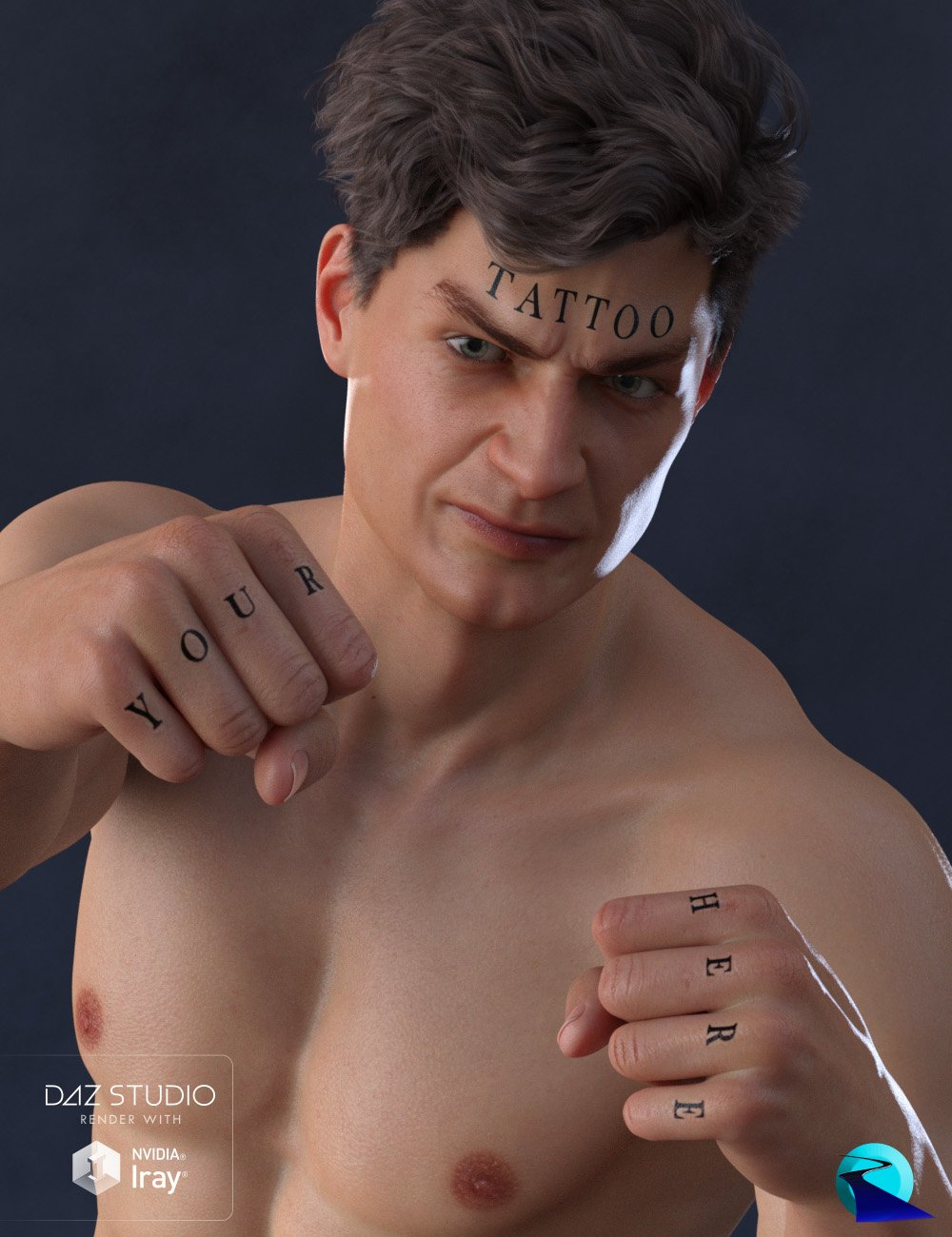 Word Tattoo for Genesis 3 and 8 Male by: RiverSoft Art, 3D Models by Daz 3D