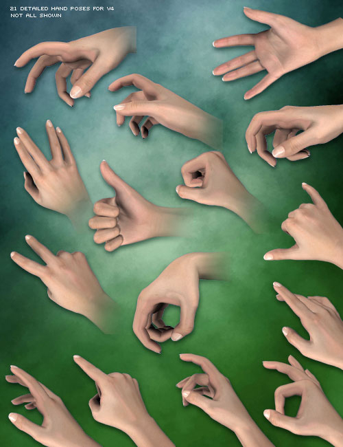 V4 Hand Poses by: Diane, 3D Models by Daz 3D