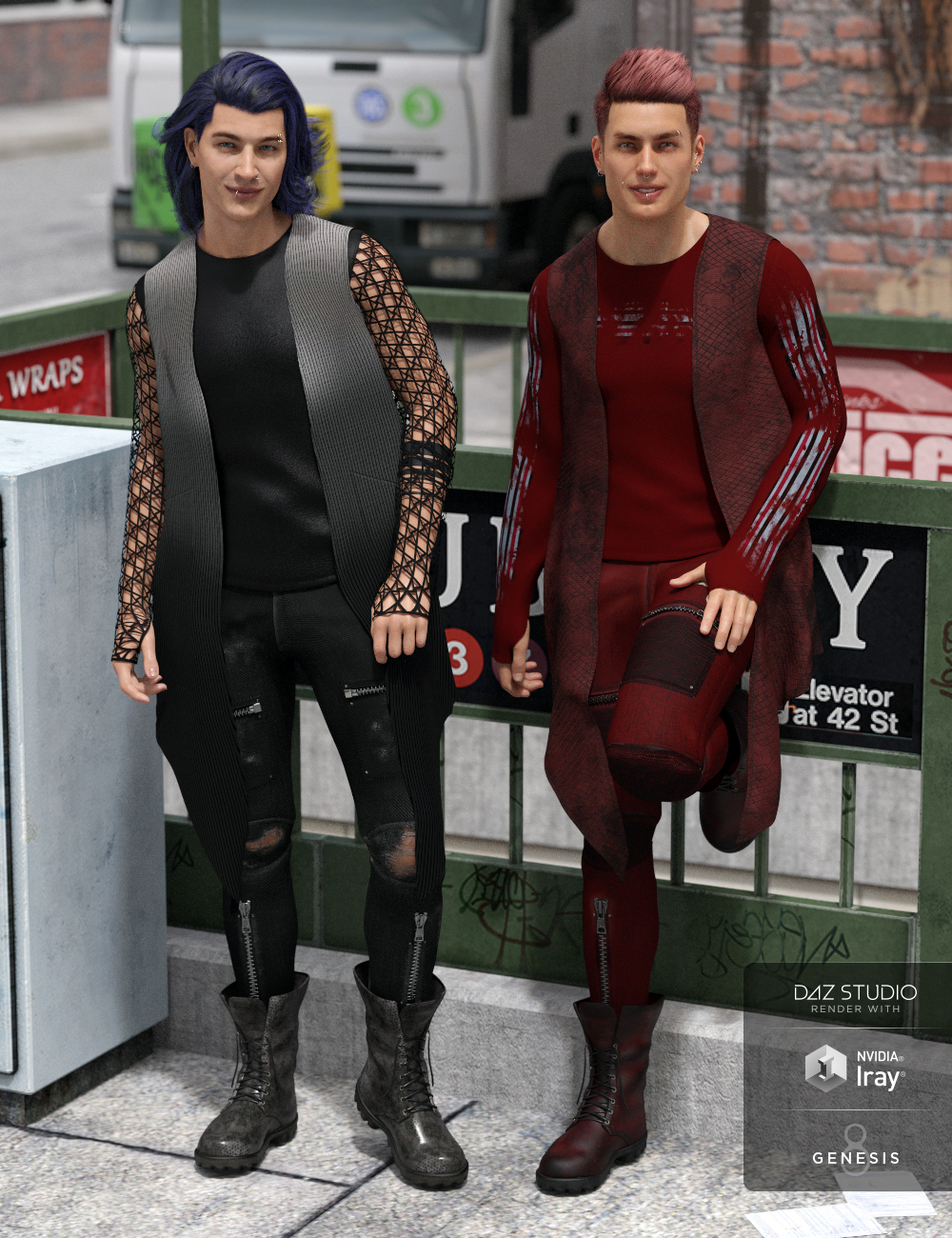 dForce Grunge Outfit Textures by: Moonscape GraphicsSade, 3D Models by Daz 3D