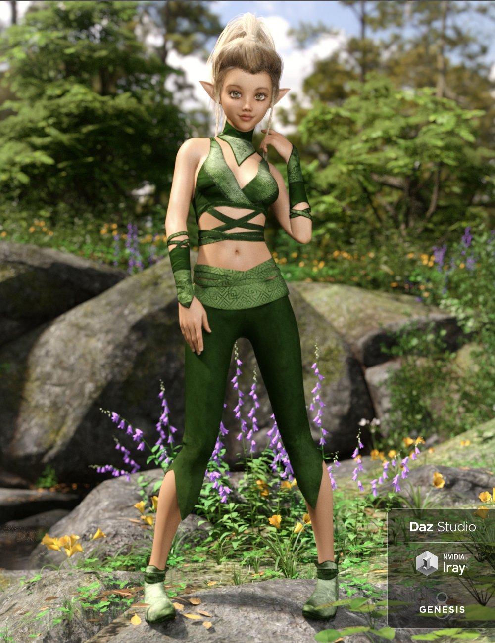 dForce Nimble Elf Outfit for Genesis 8 Female(s) by: NikisatezMoonscape GraphicsSade, 3D Models by Daz 3D
