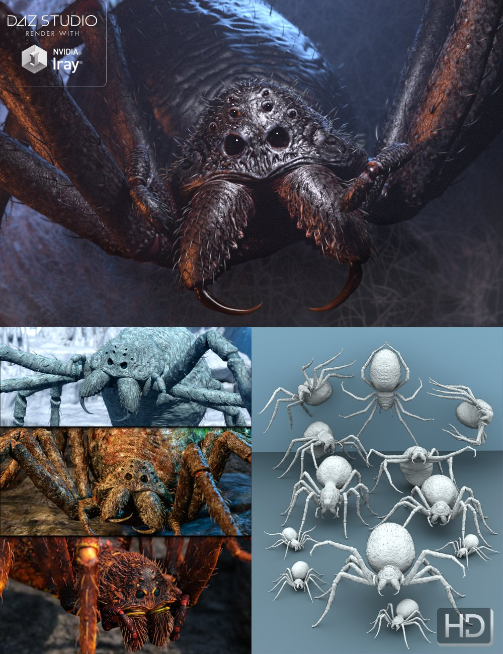 Giant Monster Spider HD Bundle by: Groovy Patrol, 3D Models by Daz 3D