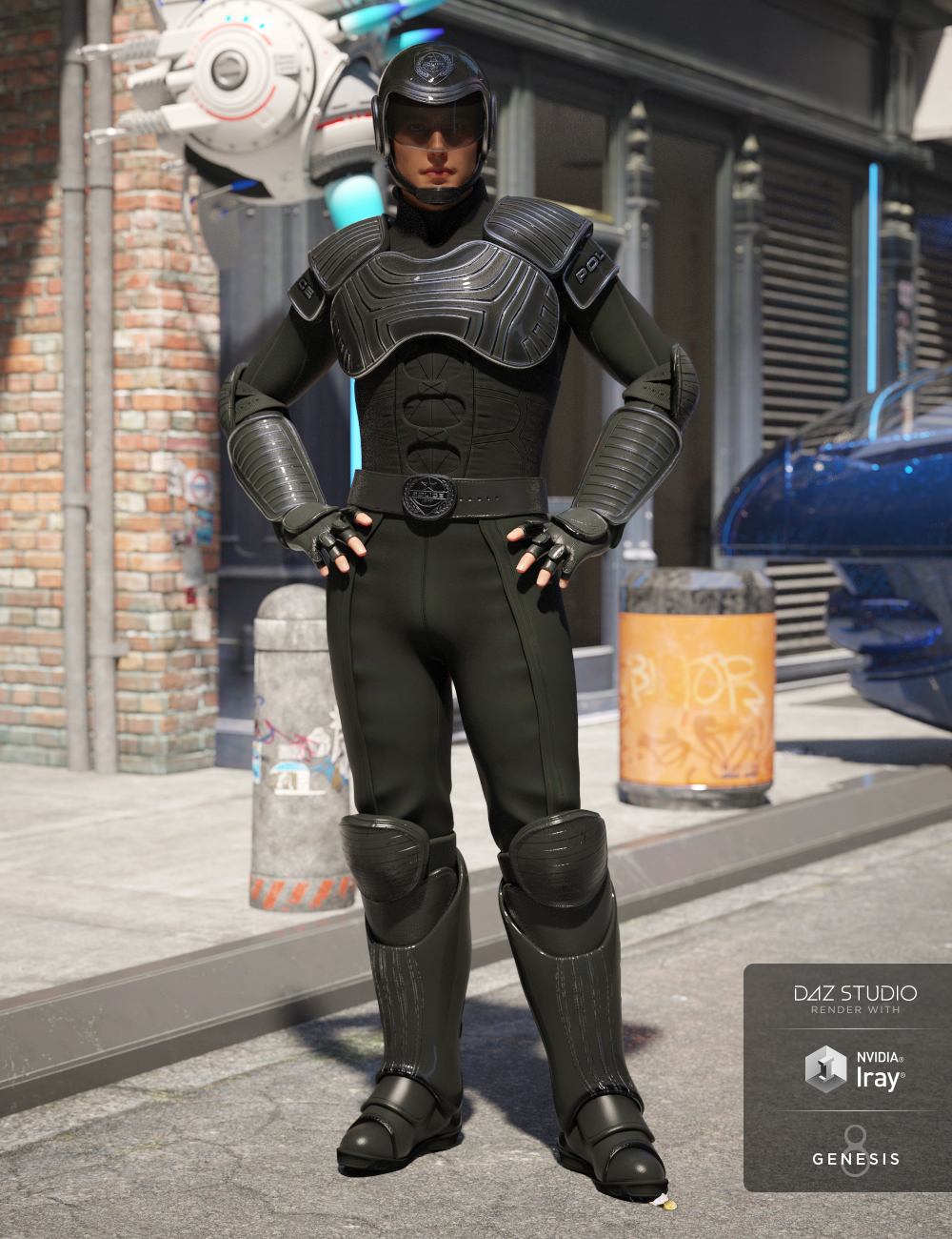 Sci-fi Police Officer Outfit for Genesis 8 Male(s) by: DemianYura, 3D Models by Daz 3D