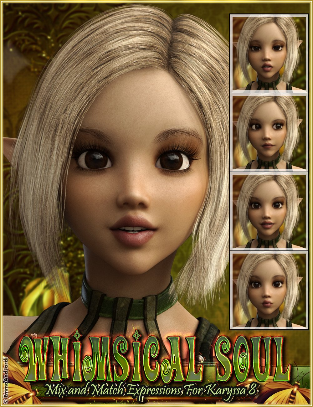 Whimsical Soul Mix And Match Expressions For Karyssa 8 And Genesis 8 Female(s) by: EmmaAndJordi, 3D Models by Daz 3D
