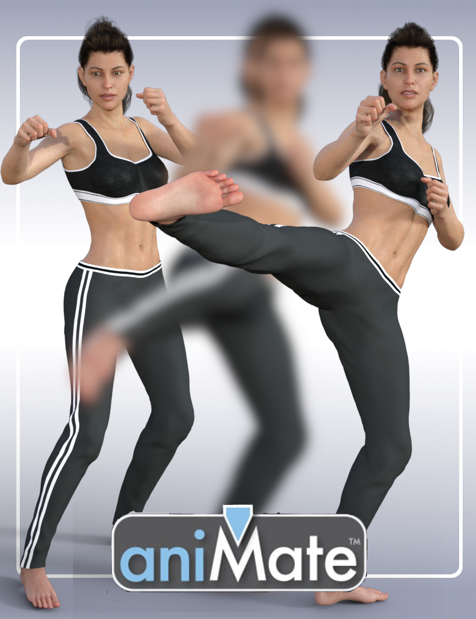 aniMate Martial Arts Kicks for Victoria 8 by: GoFigure, 3D Models by Daz 3D