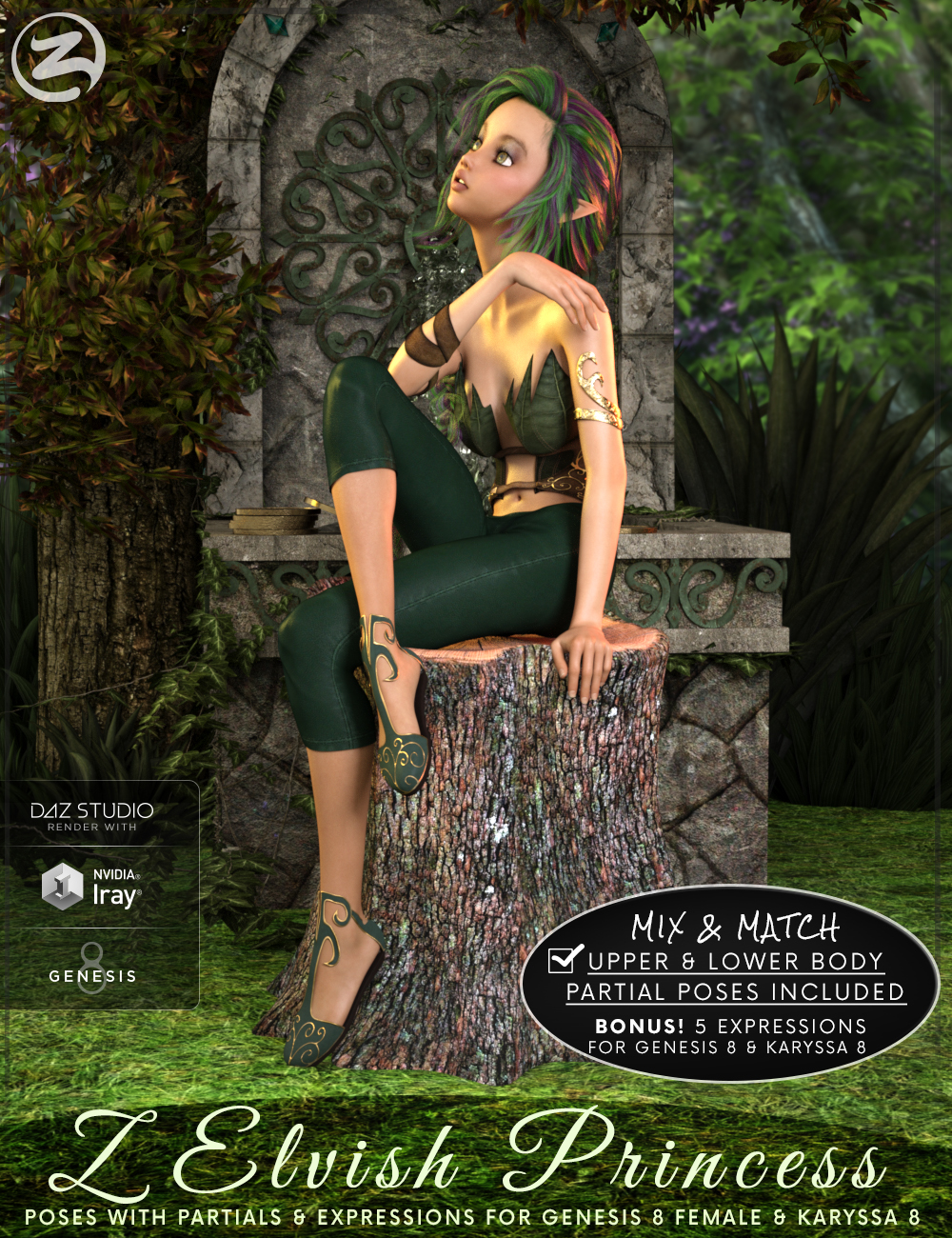 Z Elvish Princess - Poses, Partials and Expressions for Genesis 8 Female and Karyssa 8 by: Zeddicuss, 3D Models by Daz 3D