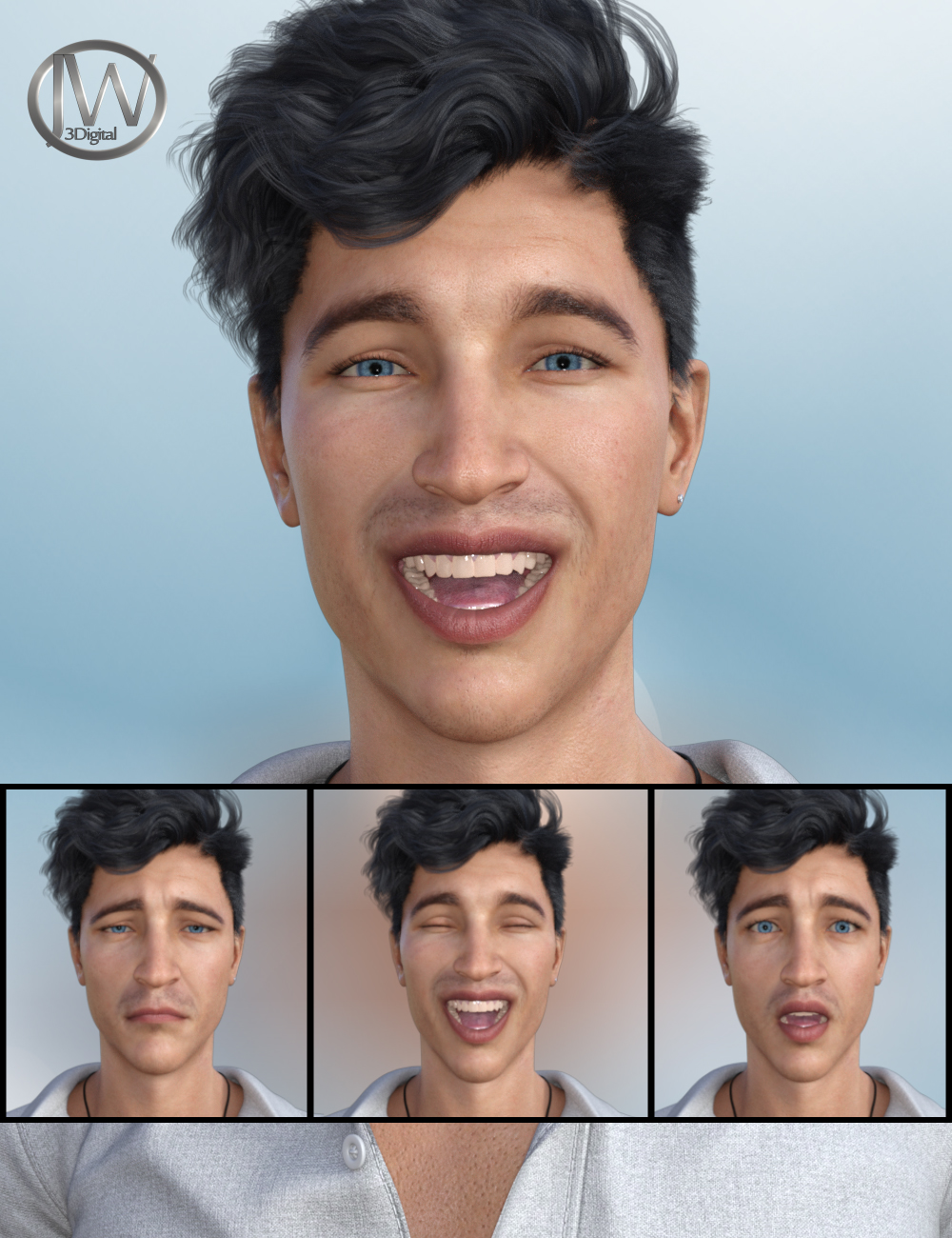 Emotional Guy - Expressions for Genesis 8 Male(s) and Owen 8 by: JWolf, 3D Models by Daz 3D
