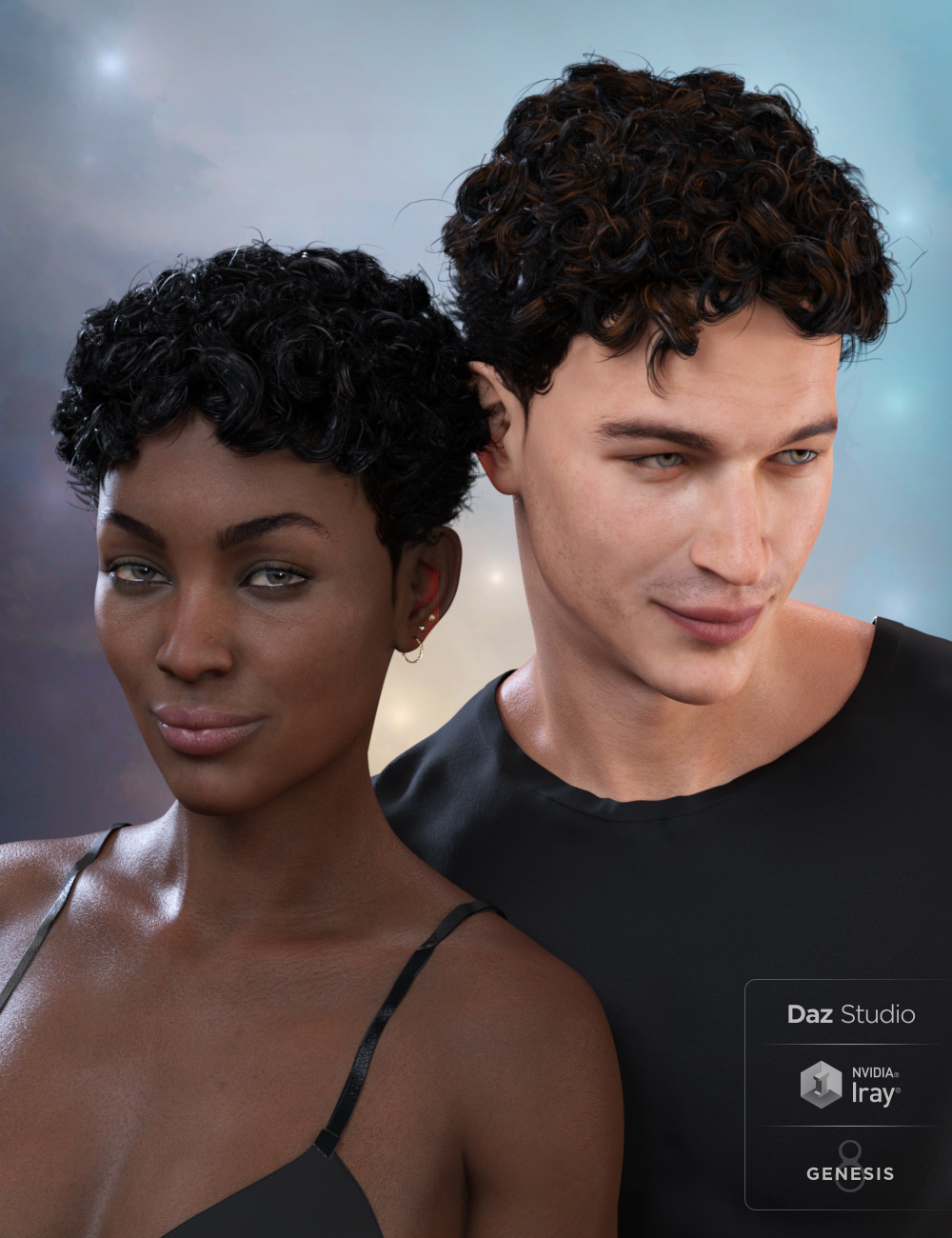 Curly Top Hair for Genesis 3 and 8 by: SamSil, 3D Models by Daz 3D