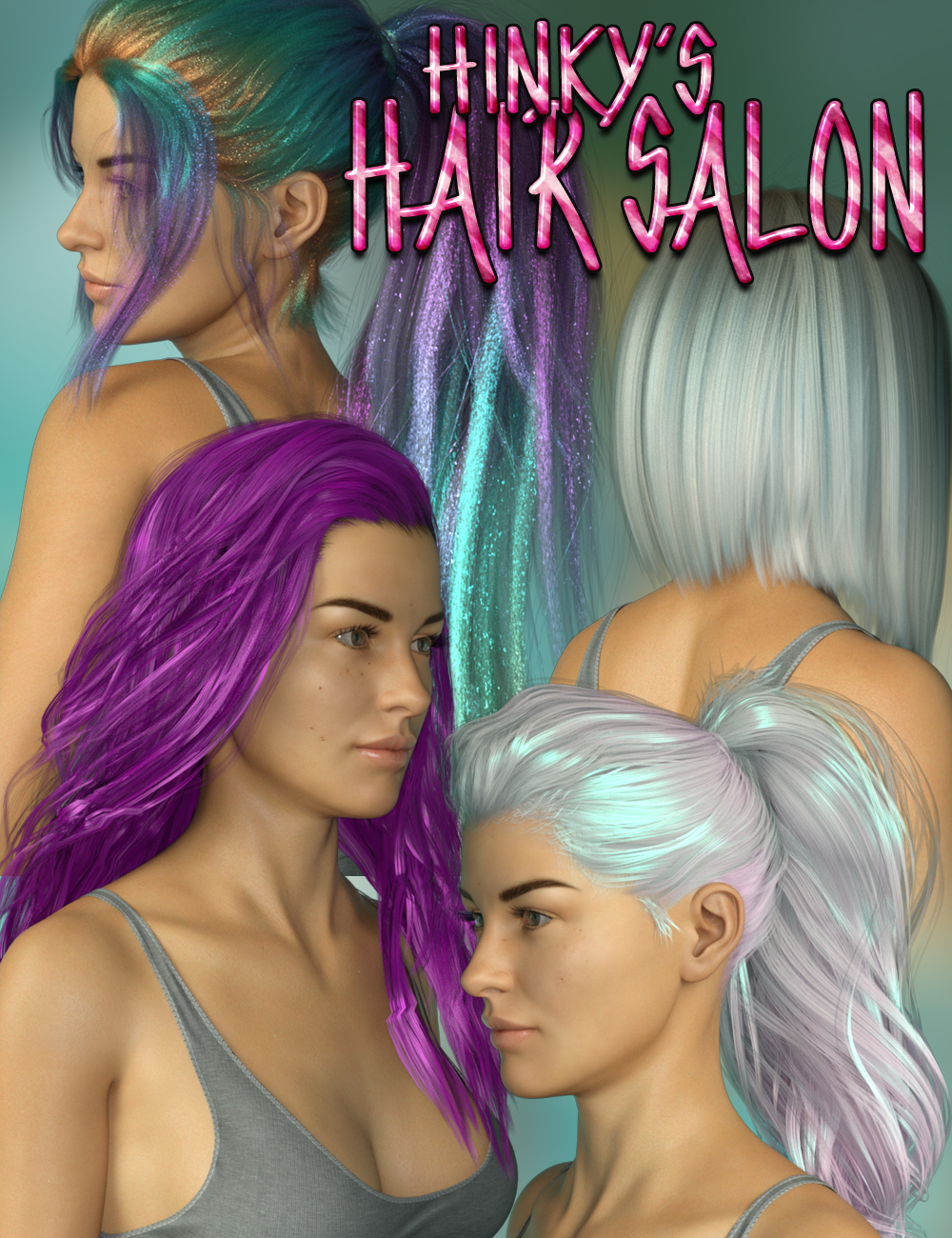 Hinky's Hair Salon Shaders by: SR3, 3D Models by Daz 3D