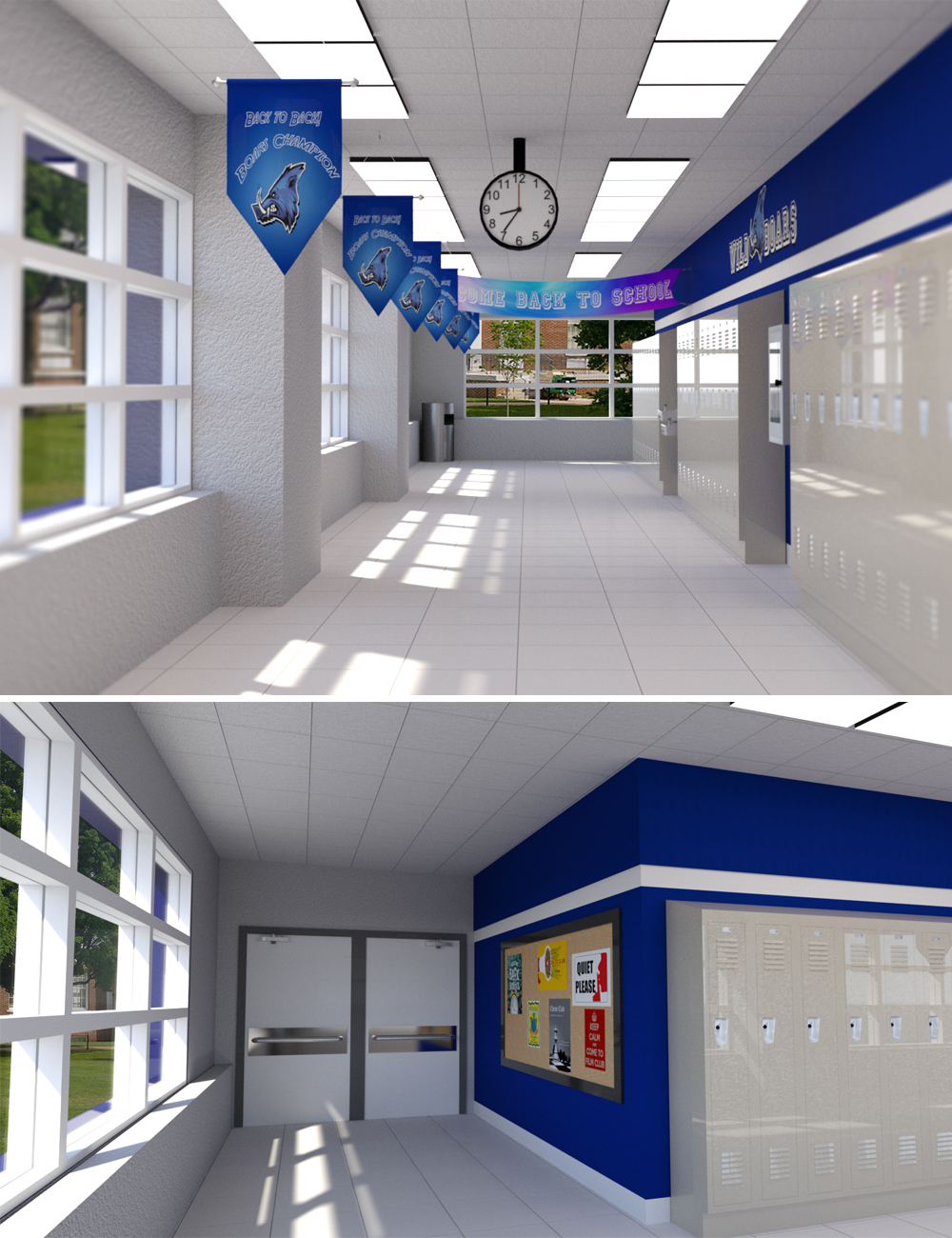 Highschool Hallway by: Digitallab3D, 3D Models by Daz 3D