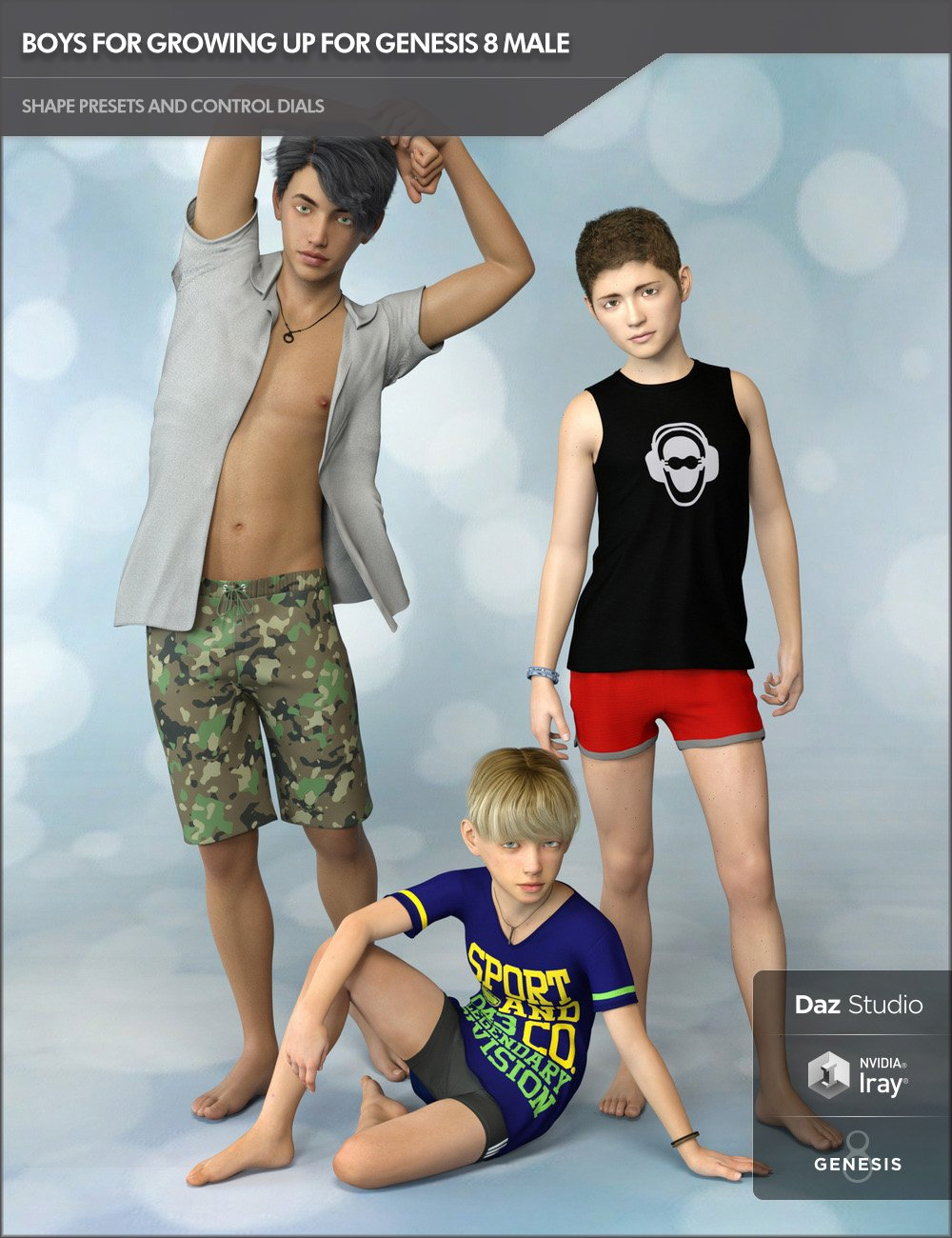 Boys for Growing Up for Genesis 8 Male by: SF-Design, 3D Models by Daz 3D