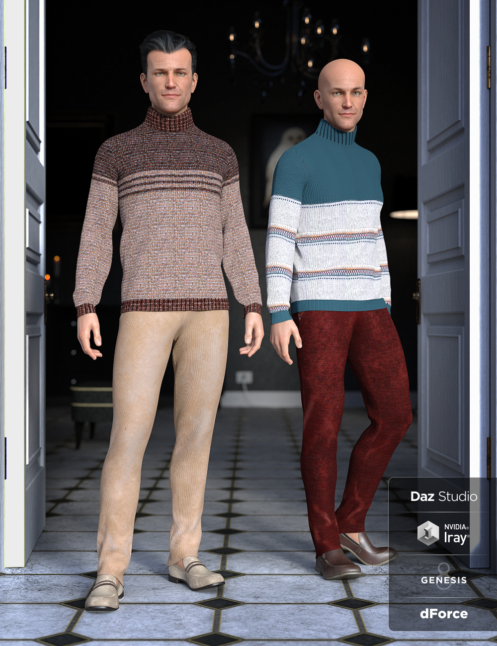 dForce Sweater Outfit Textures by: Moonscape GraphicsSade, 3D Models by Daz 3D