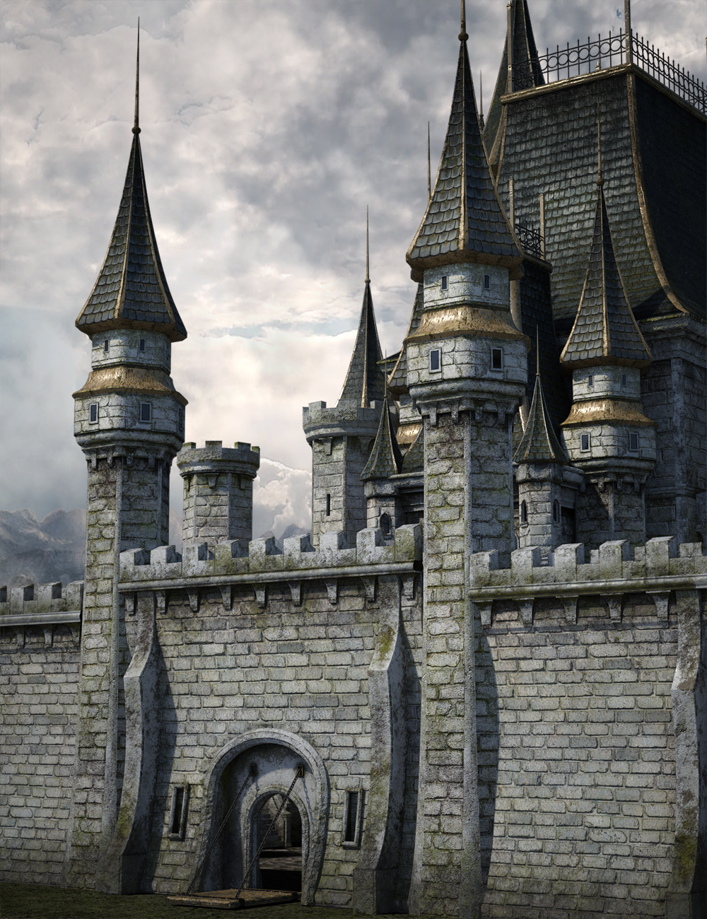 Fantasy Castle Surround 2 Iray by: LaurieS, 3D Models by Daz 3D